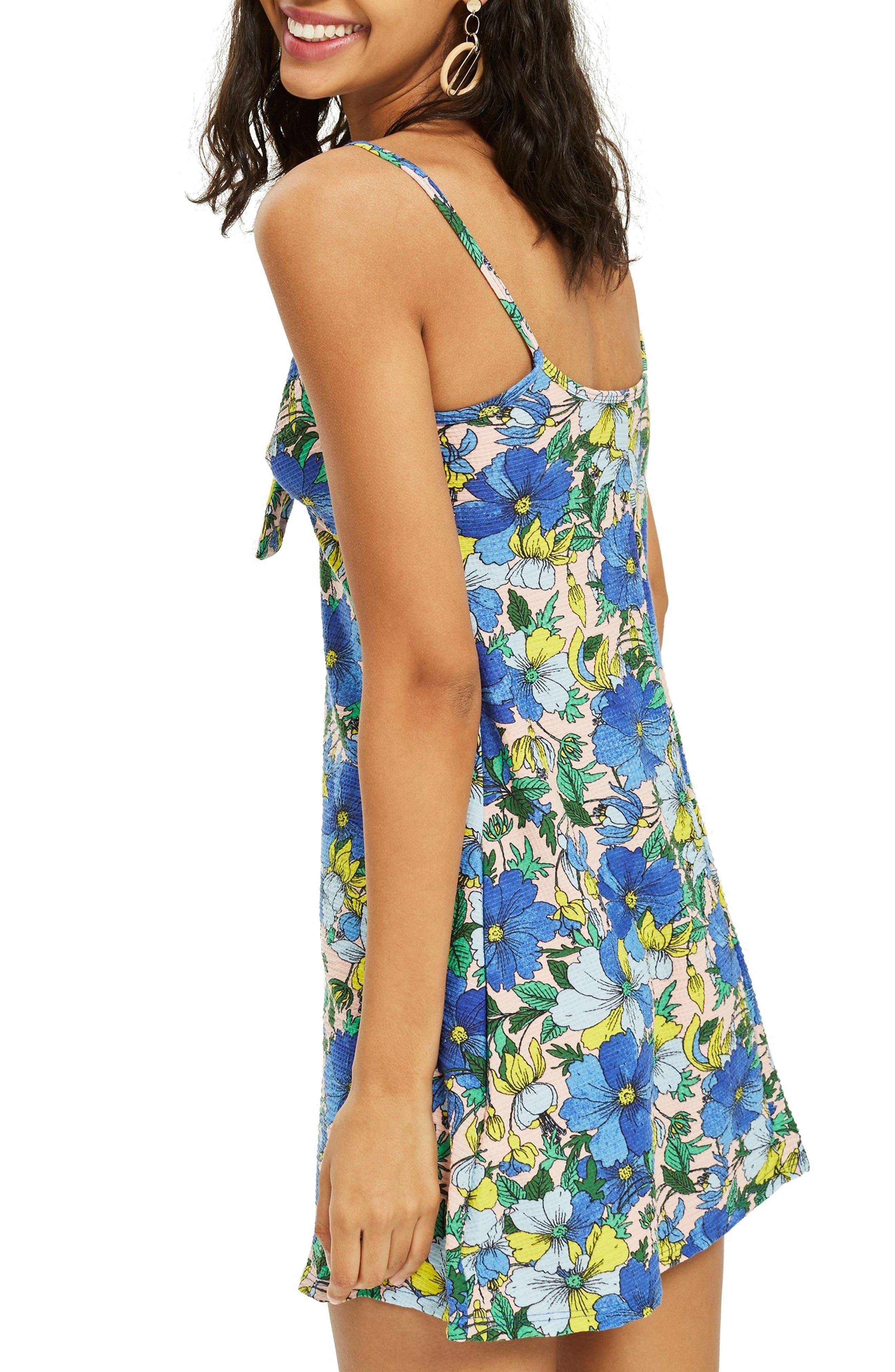 Heavy Petal Knot Front Mini Dress,                             Alternate thumbnail 2, color,                             Blue Multi
