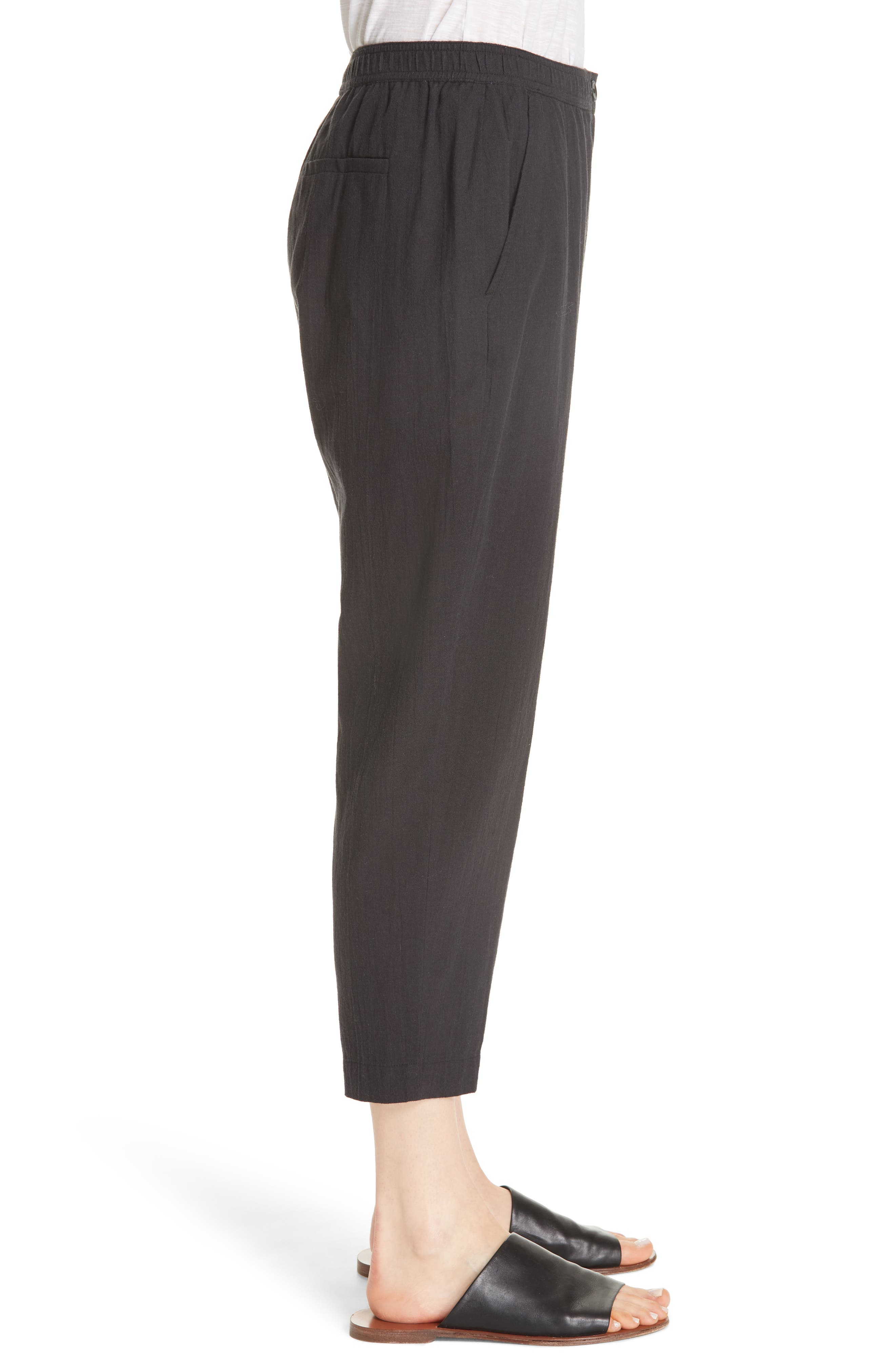 Tapered Cropped Pants,                             Alternate thumbnail 5, color,                             Black