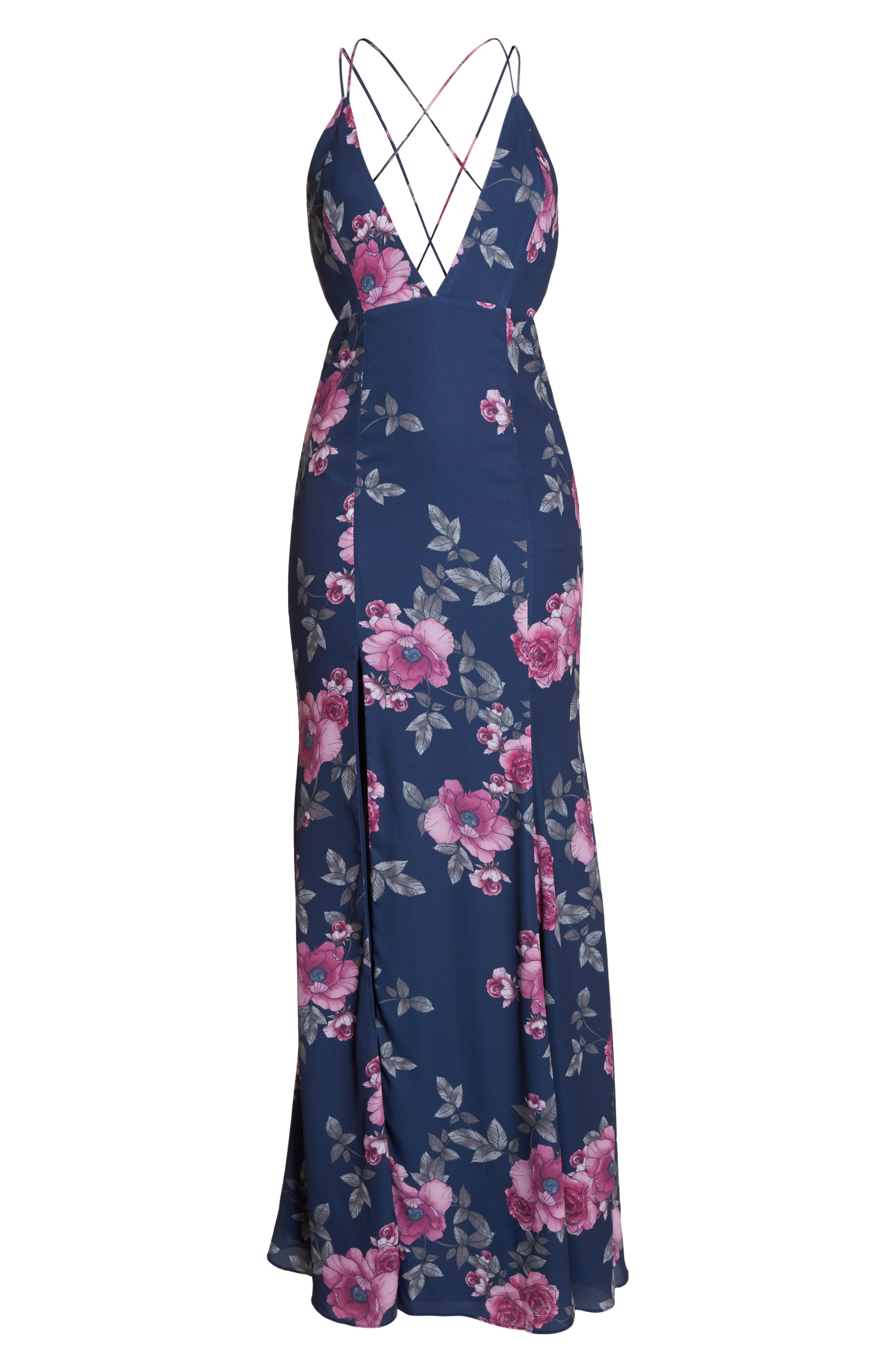 The Rowen Floral Gown,                             Alternate thumbnail 6, color,                             Midnight Flora