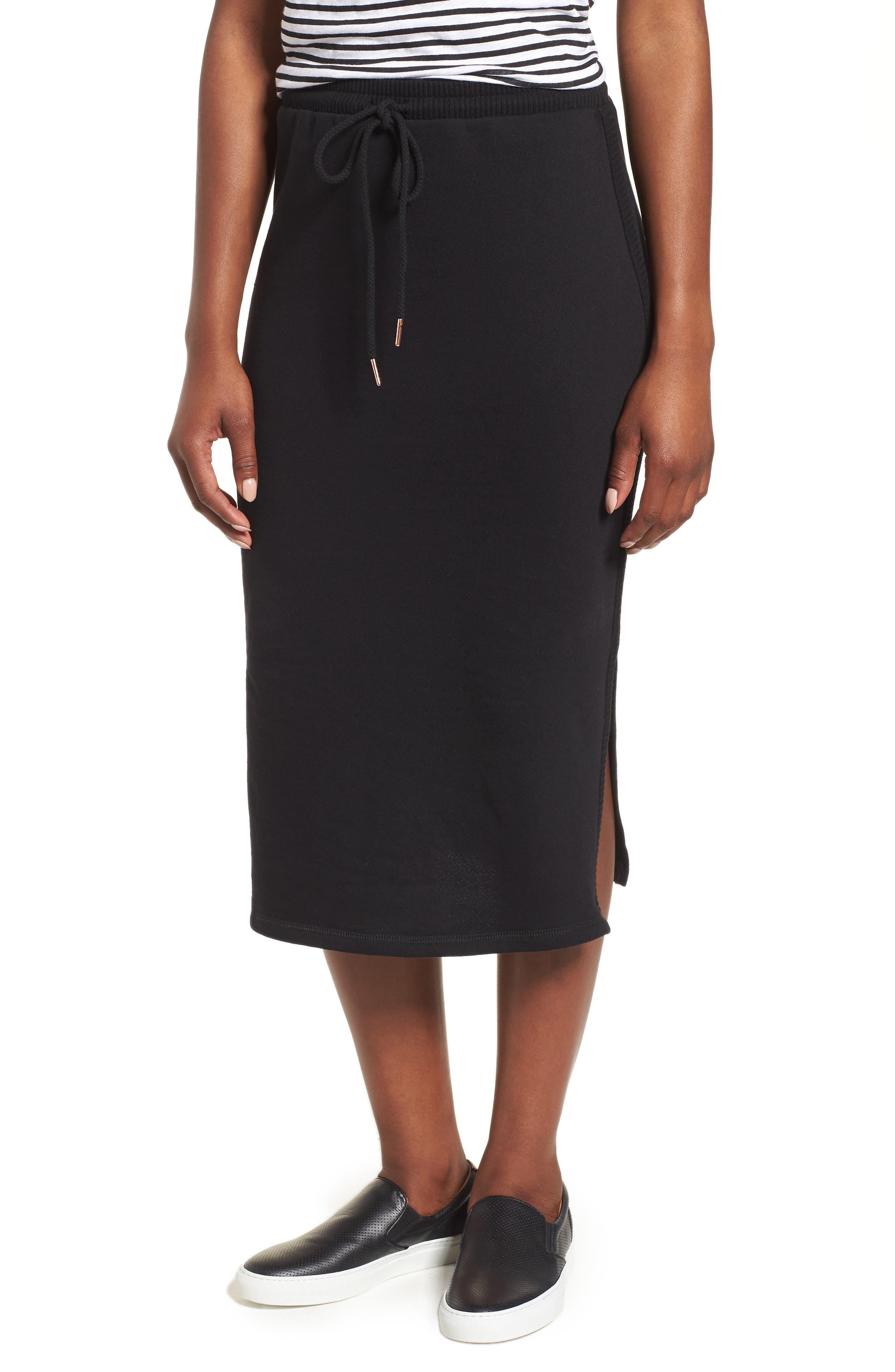 Off-Duty Drawstring Skirt,                             Main thumbnail 1, color,                             Black