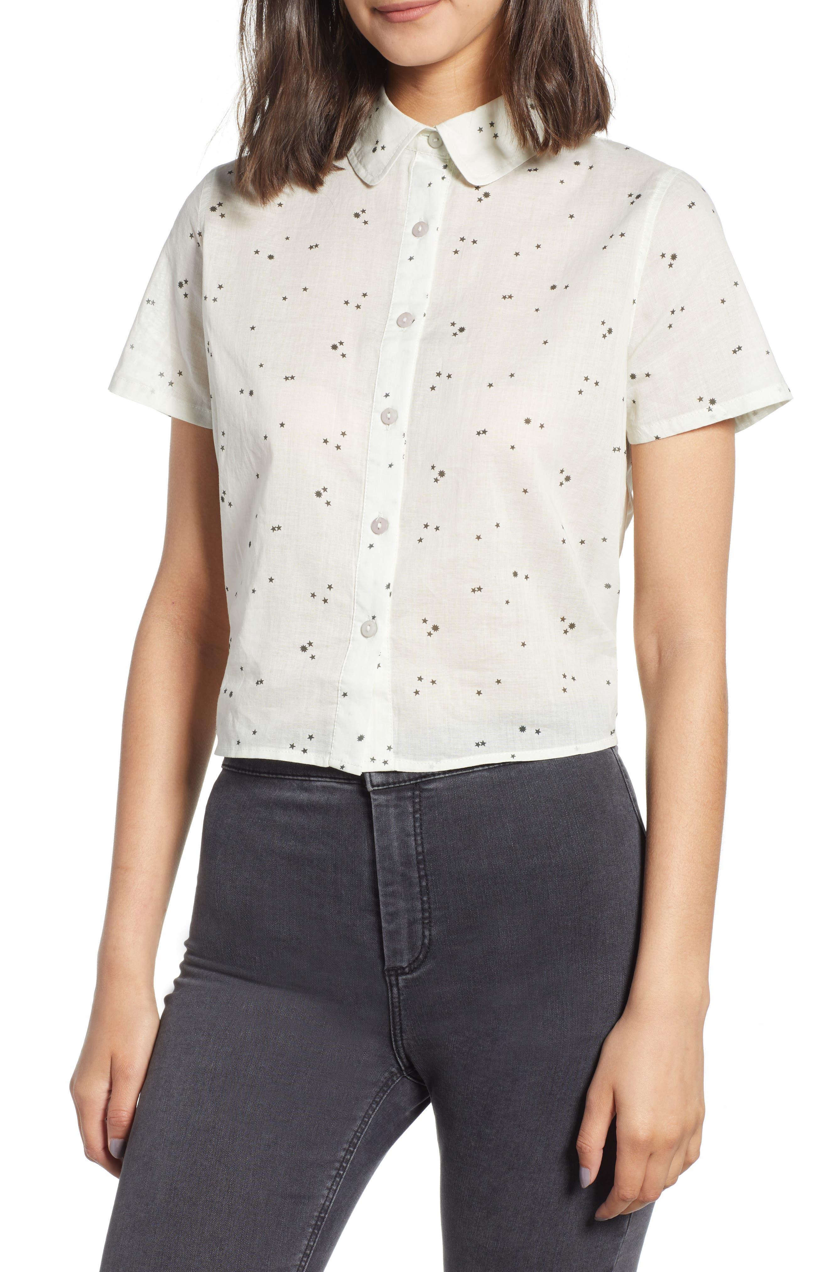 Tie Back Camp Shirt,                             Main thumbnail 1, color,                             White Star Print