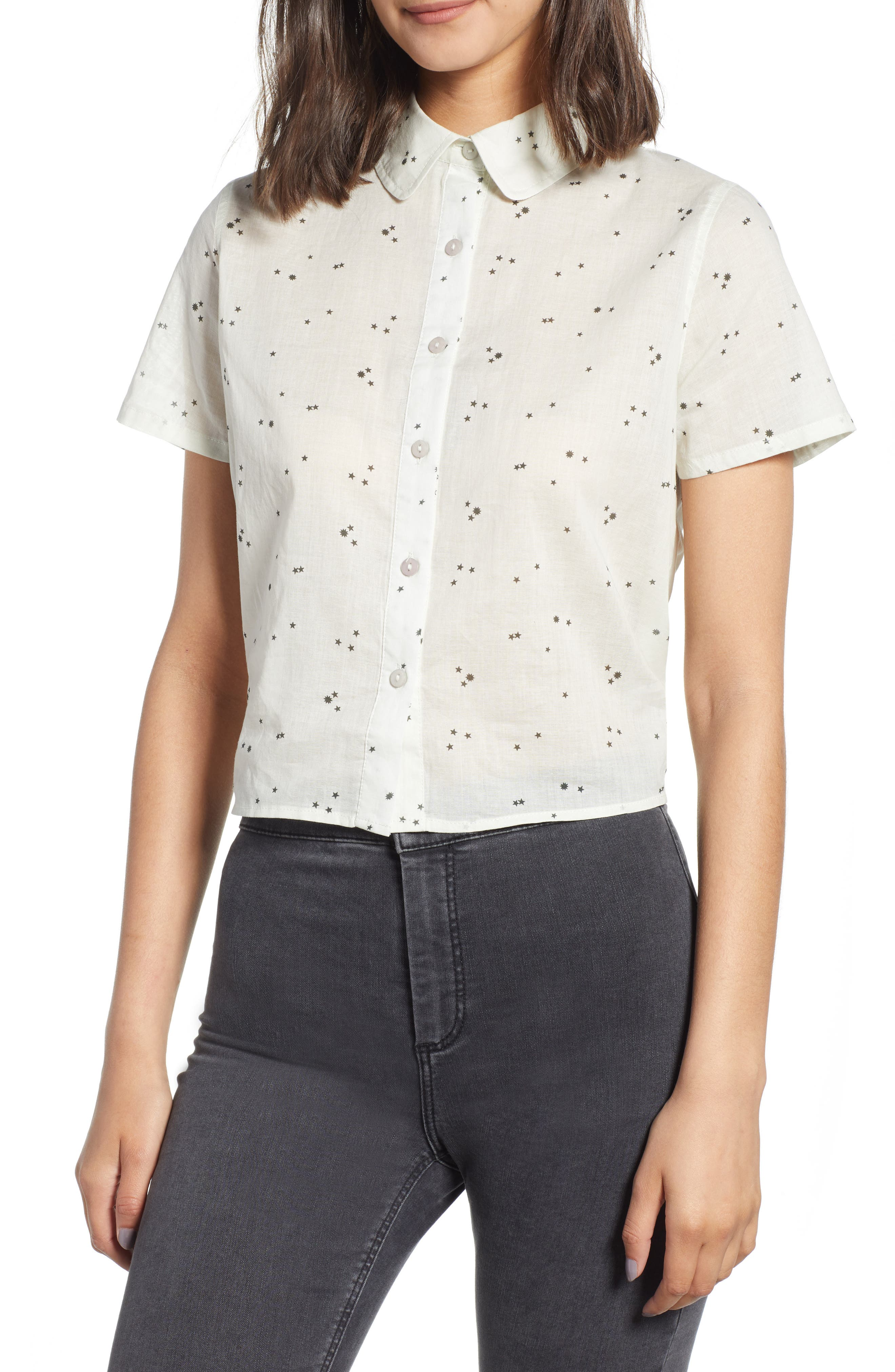 Tie Back Camp Shirt,                         Main,                         color, White Star Print