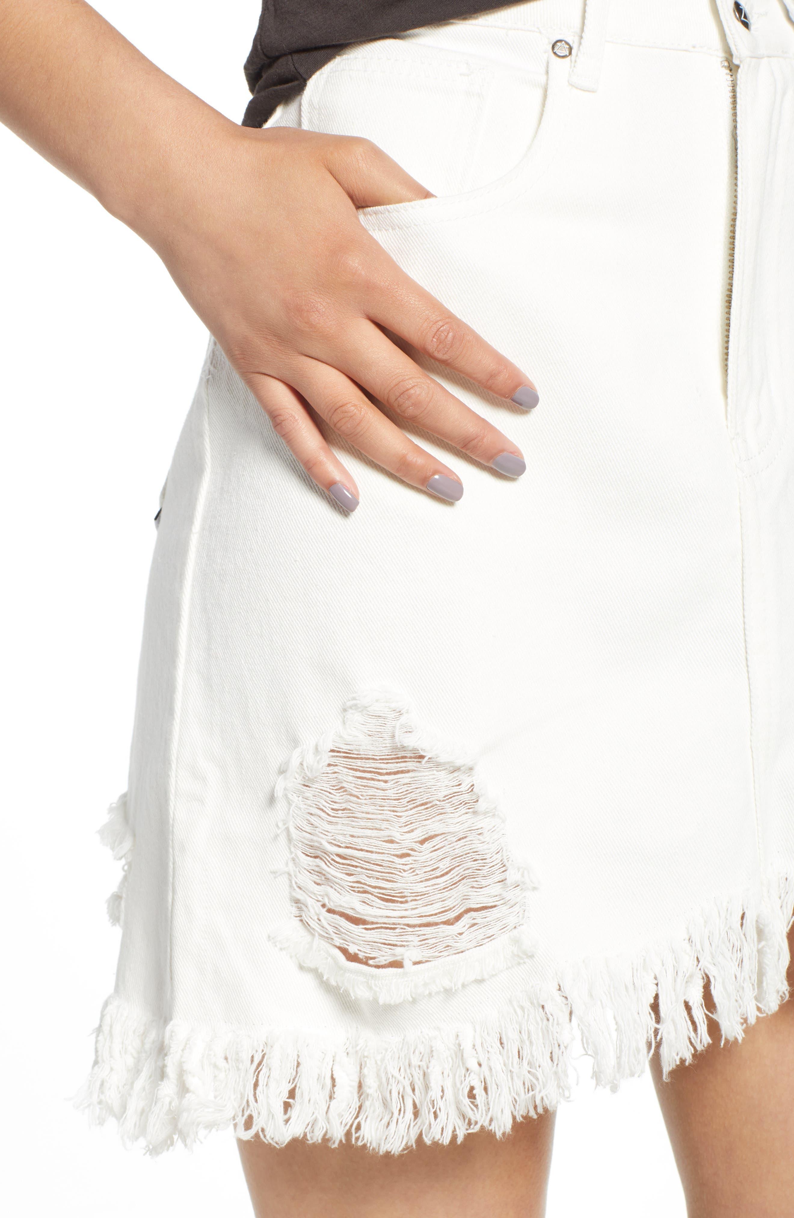Shimmering Bays Ripped Denim Skirt,                             Alternate thumbnail 4, color,                             White