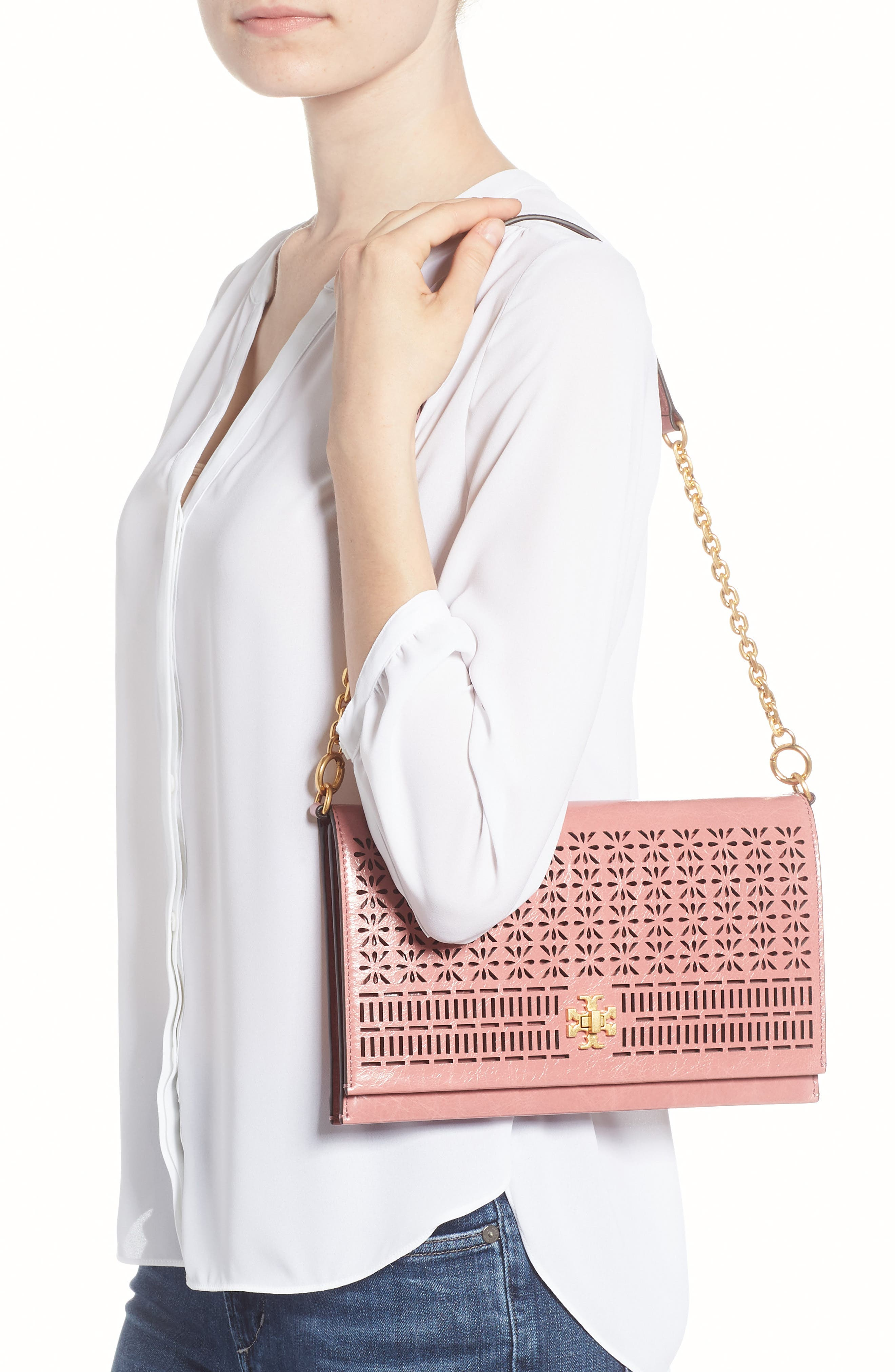 Kira Perforated Leather Clutch,                             Alternate thumbnail 2, color,                             Pink Magnolia