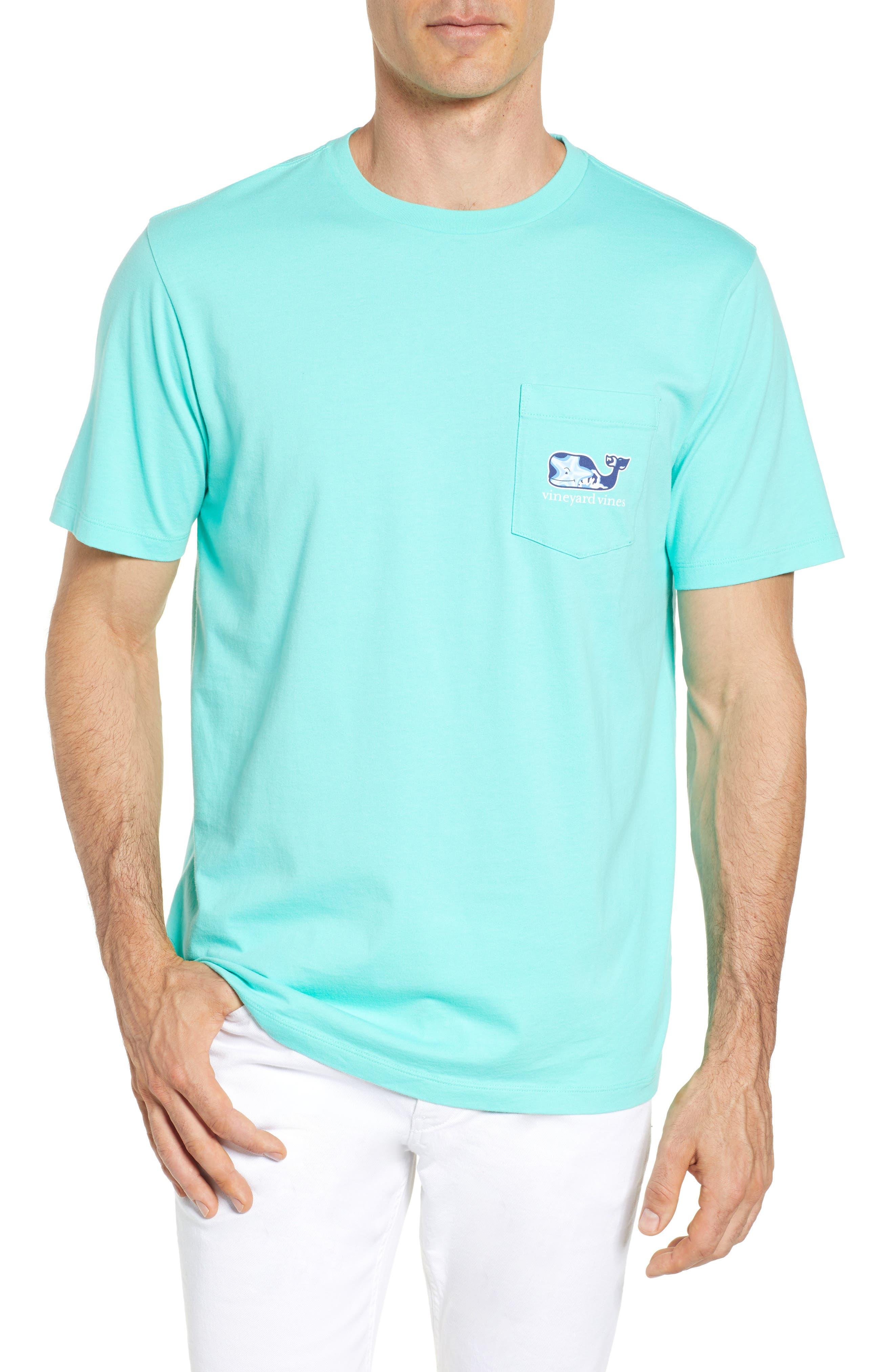 Starfish Whale Pocket T-Shirt,                             Main thumbnail 1, color,                             Capri Blue