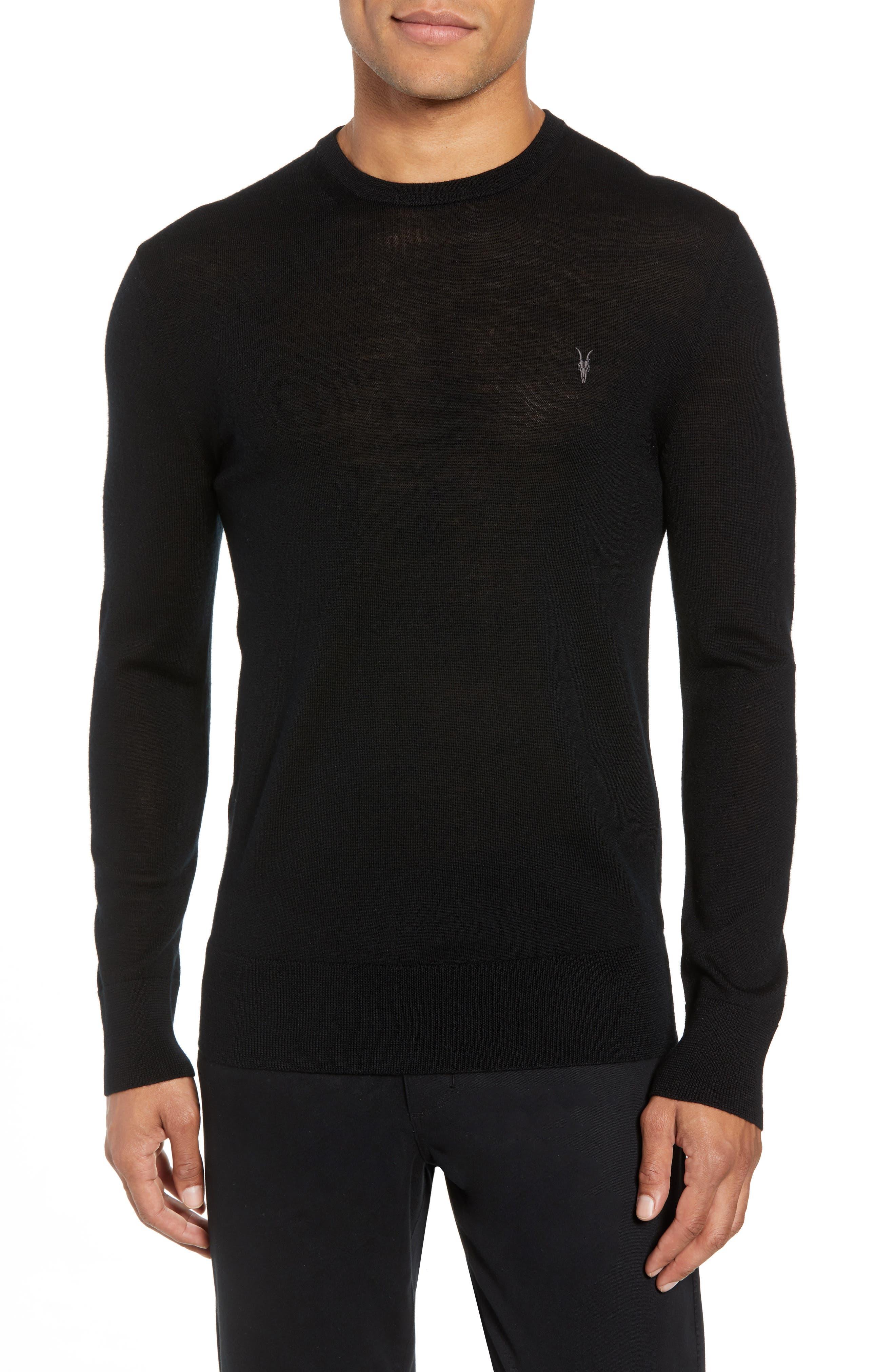 Mode Slim Fit Merino Wool Sweater,                             Main thumbnail 1, color,                             Black