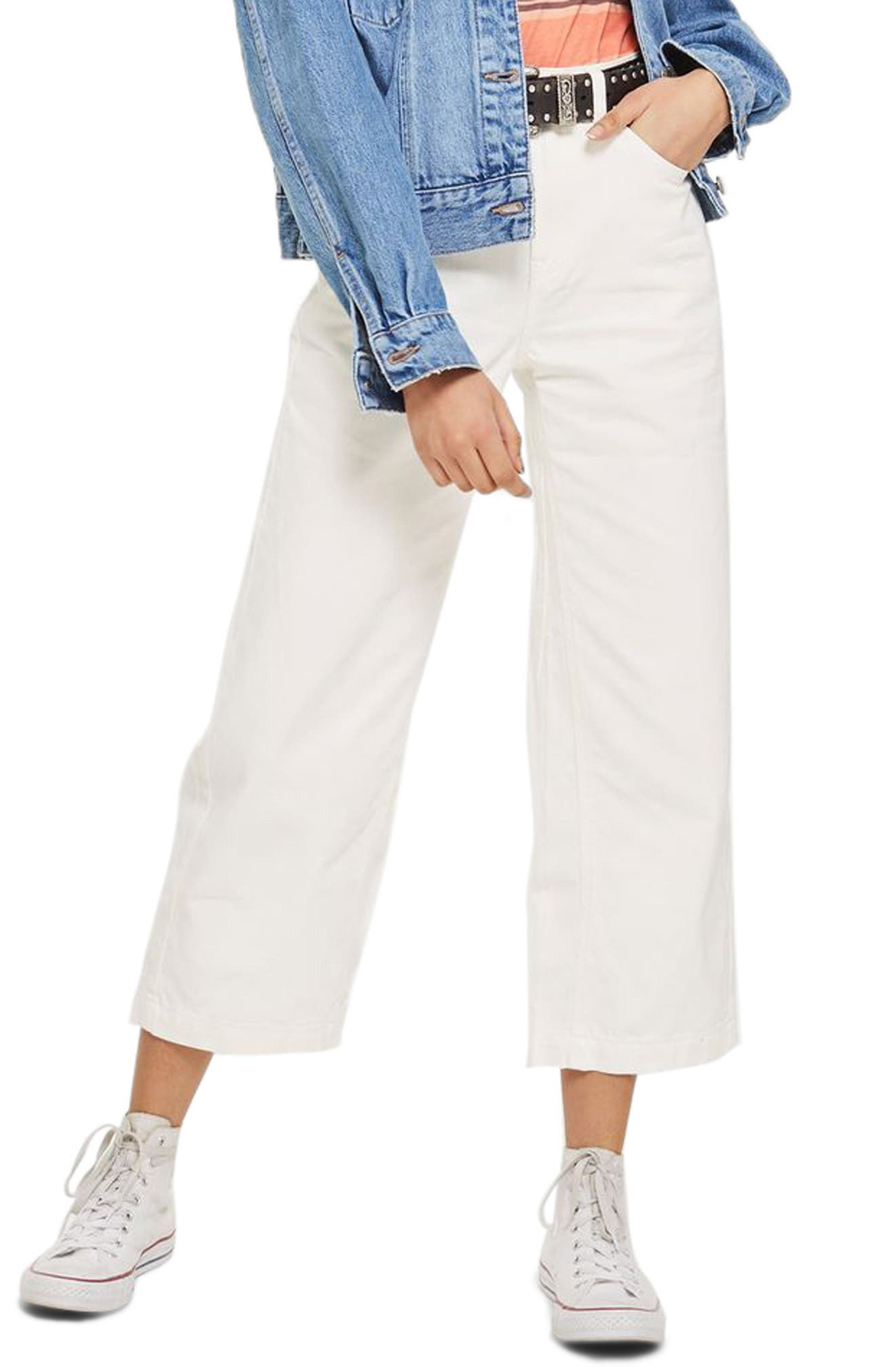 MOTO Cropped Wide Leg Non-Stretch Jeans,                         Main,                         color, White