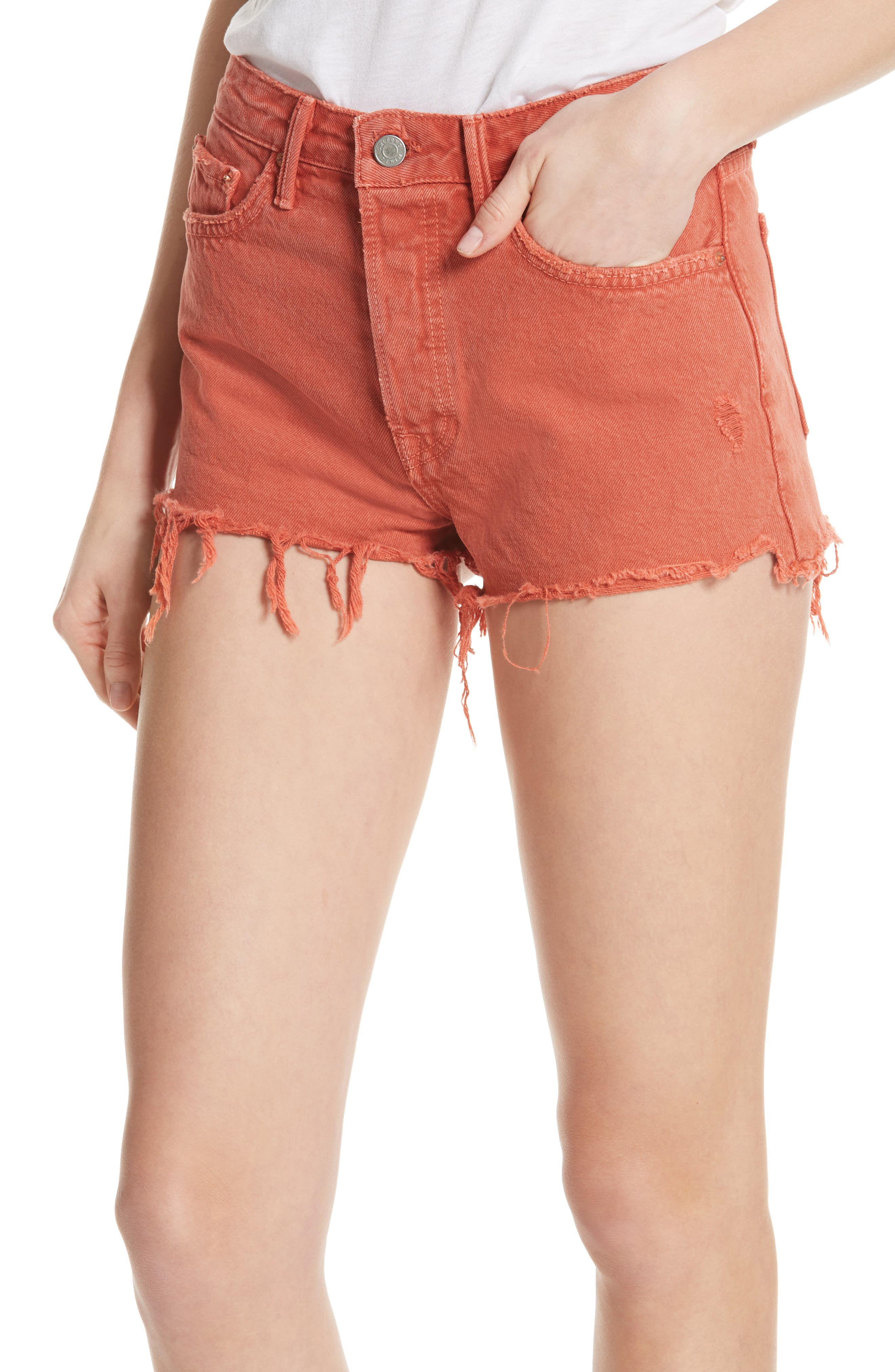 Cindy Rigid High Waist Denim Shorts,                             Alternate thumbnail 4, color,                             Spice Market