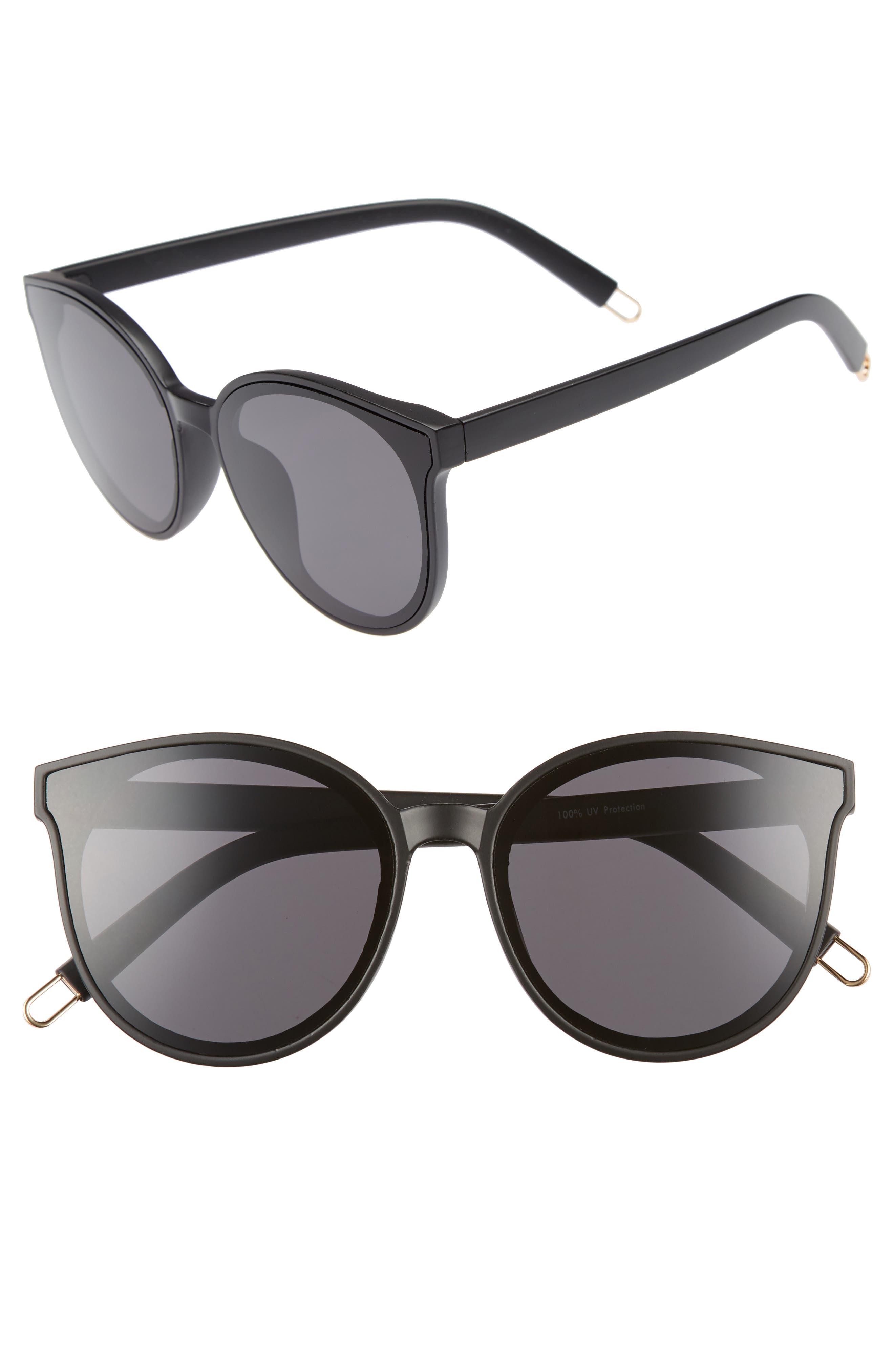 59mm Metal Tip Round Sunglasses,                             Main thumbnail 1, color,                             Black