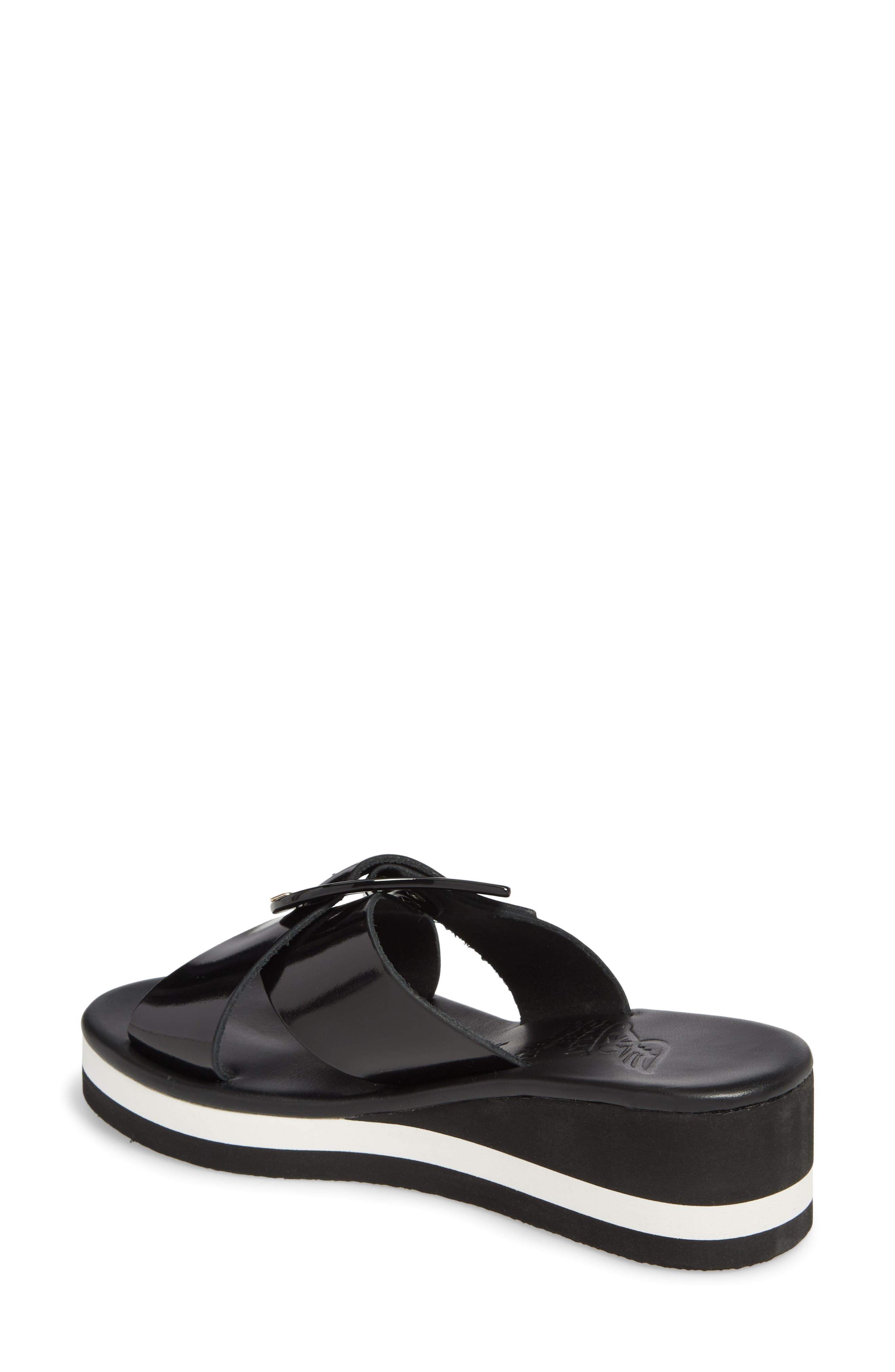 Thais Wedge Slide Sandal,                             Alternate thumbnail 2, color,                             Black