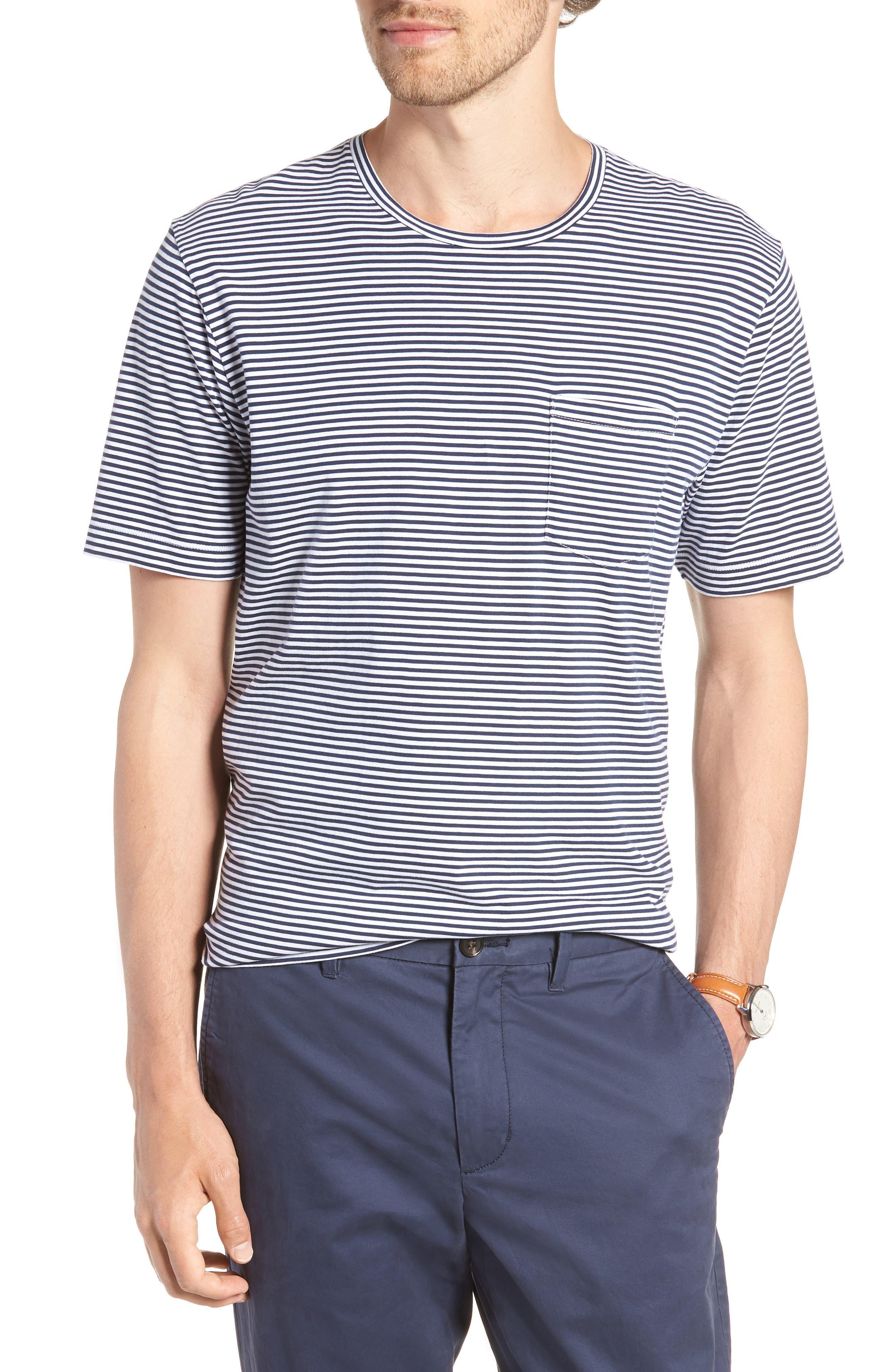 Stripe Brushed Pima Cotton T-Shirt,                             Main thumbnail 1, color,                             Navy Iris Mini Stripe