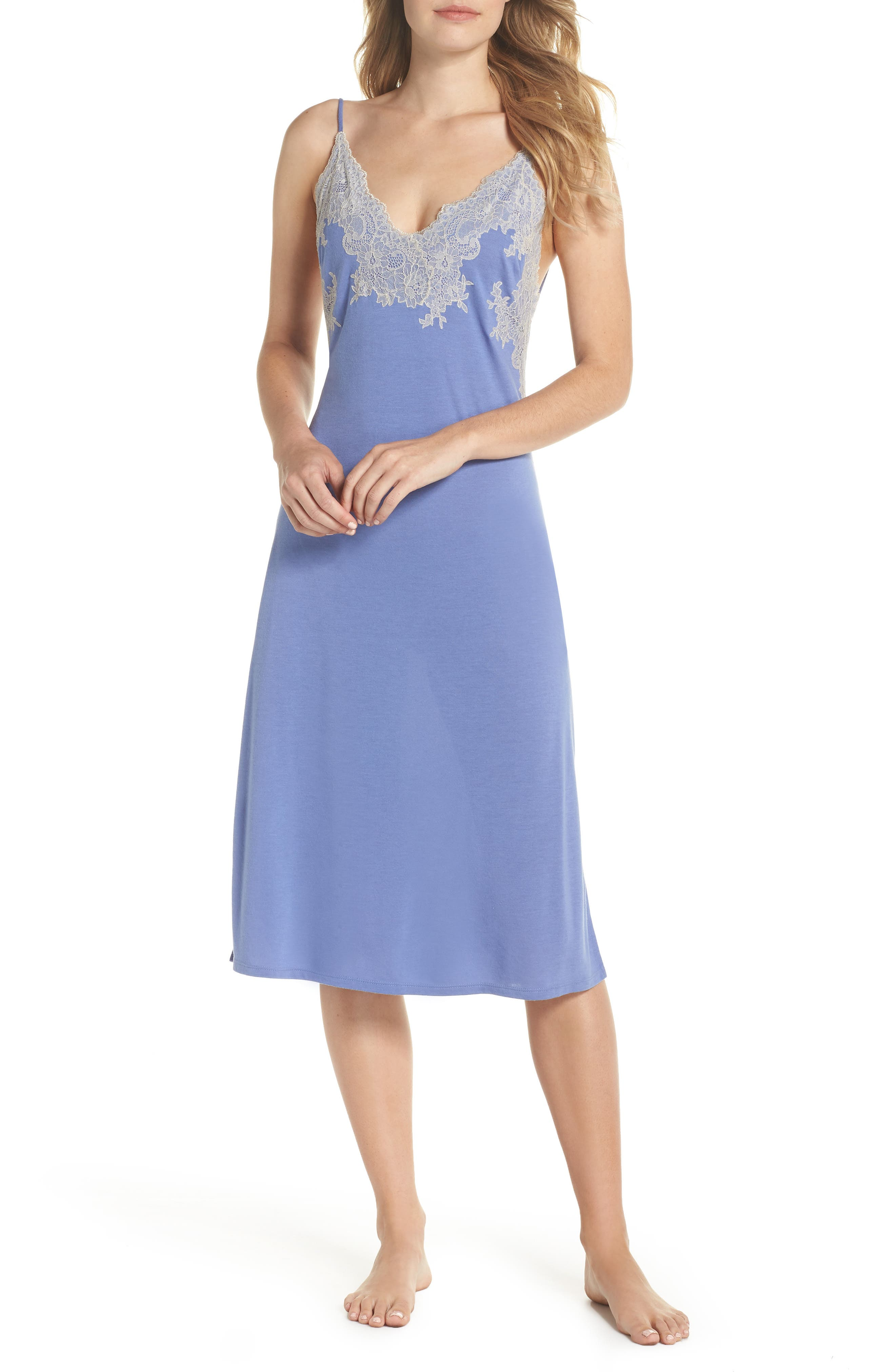 Luxe Shangri-La Nightgown,                             Main thumbnail 1, color,                             Wedgewood