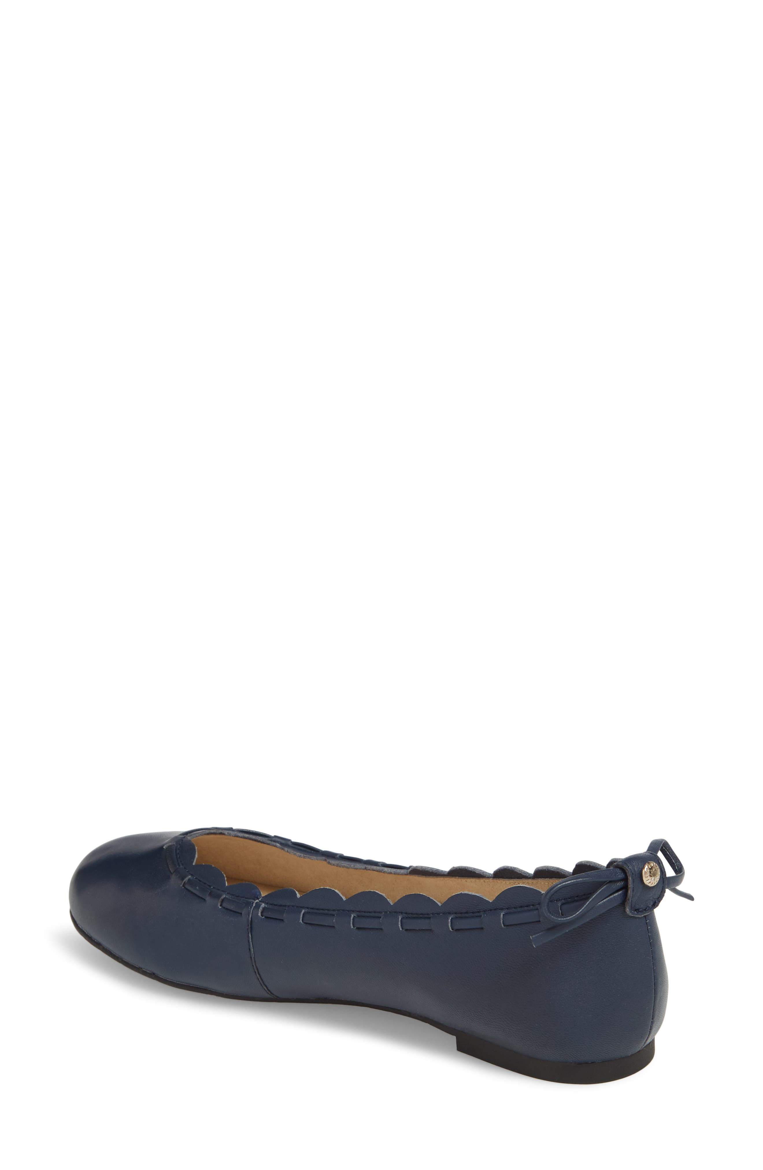 Lucie II Scalloped Flat,                             Alternate thumbnail 2, color,                             Midnight Blue Leather