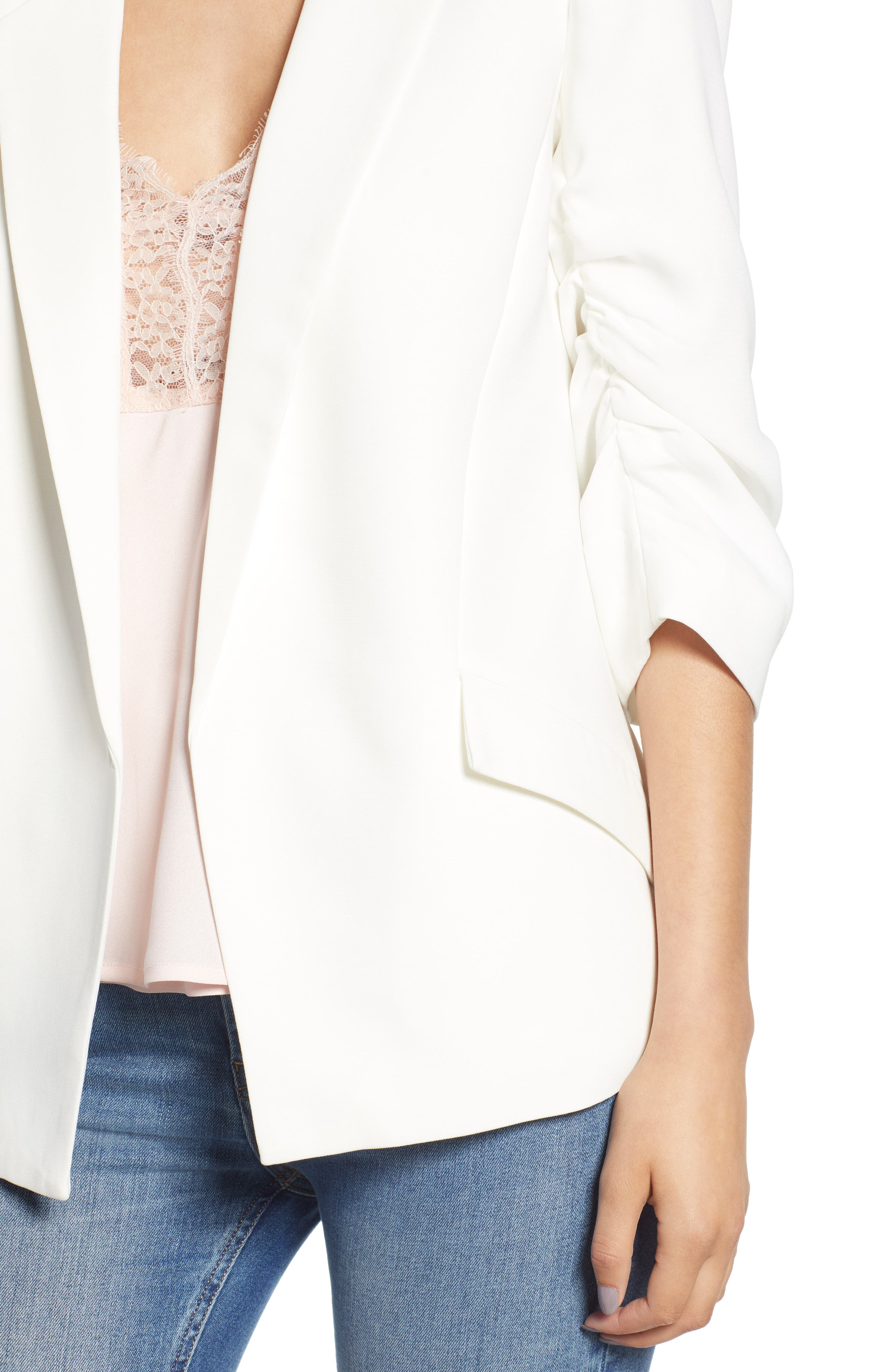 Ruched Sleeve Blazer,                             Alternate thumbnail 4, color,                             White