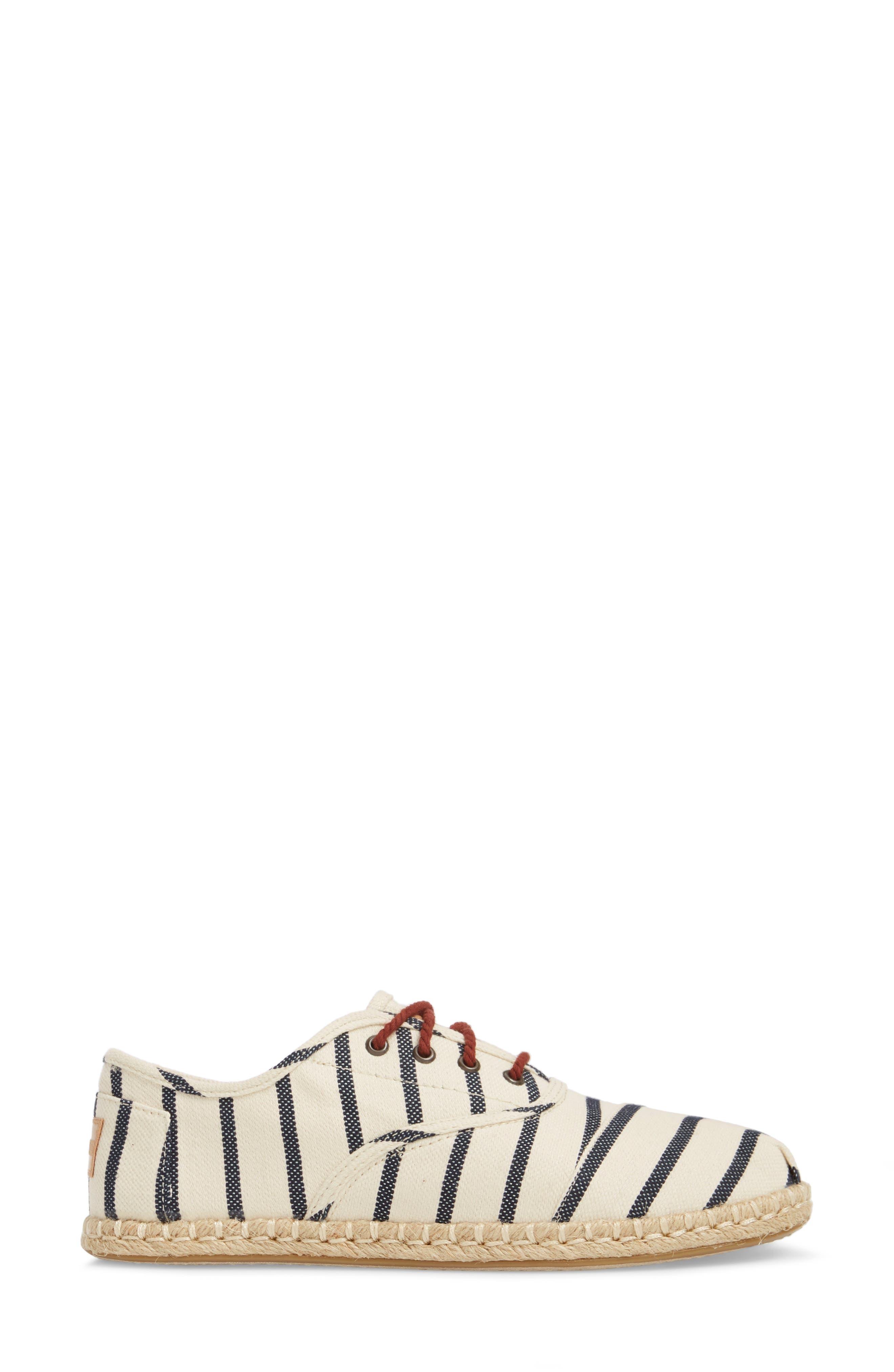 Cordones Sneaker,                             Alternate thumbnail 3, color,                             Natural Stripe Woven