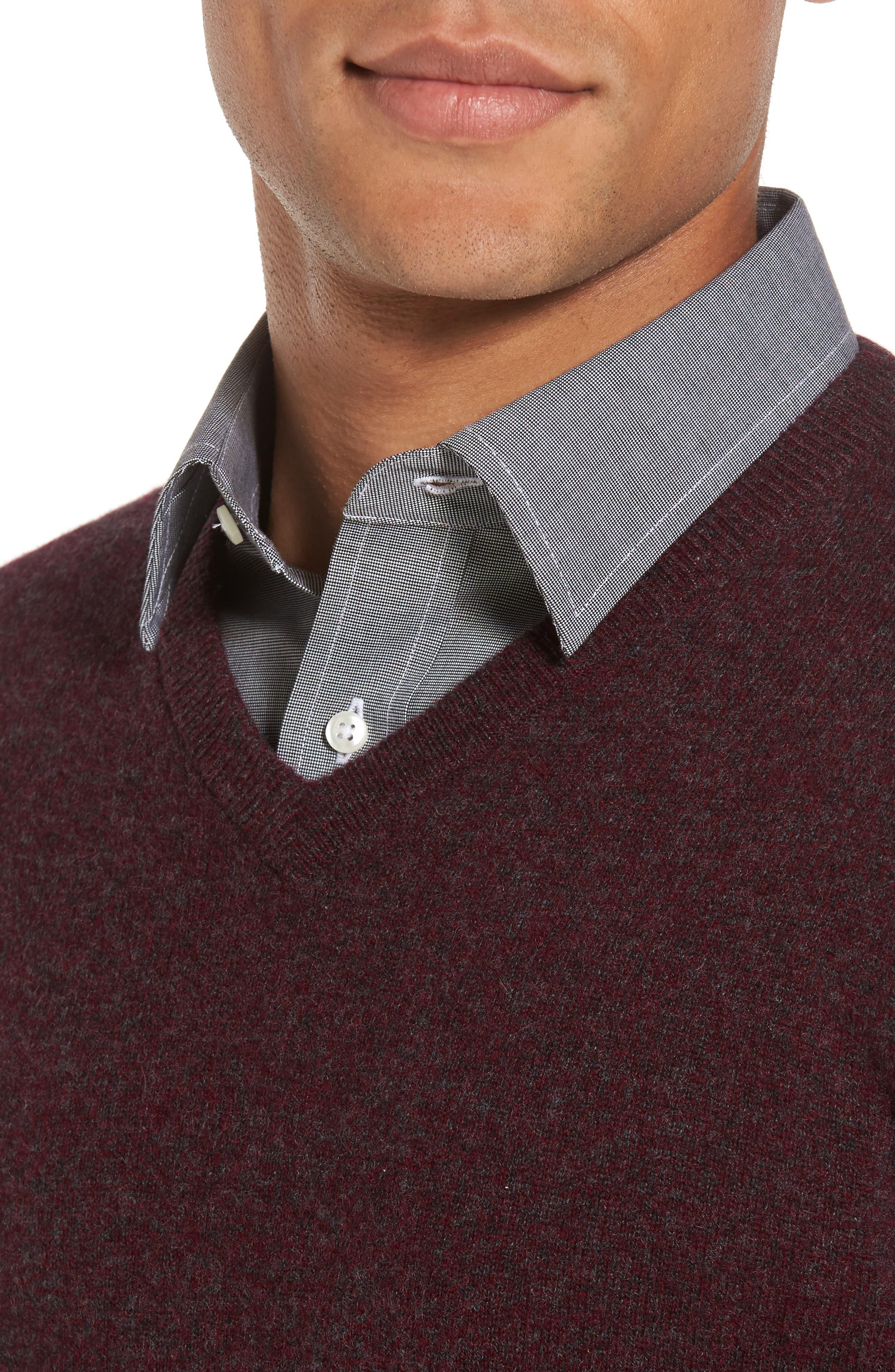 Cashmere V-Neck Sweater,                             Alternate thumbnail 4, color,                             Burgundy Fudge