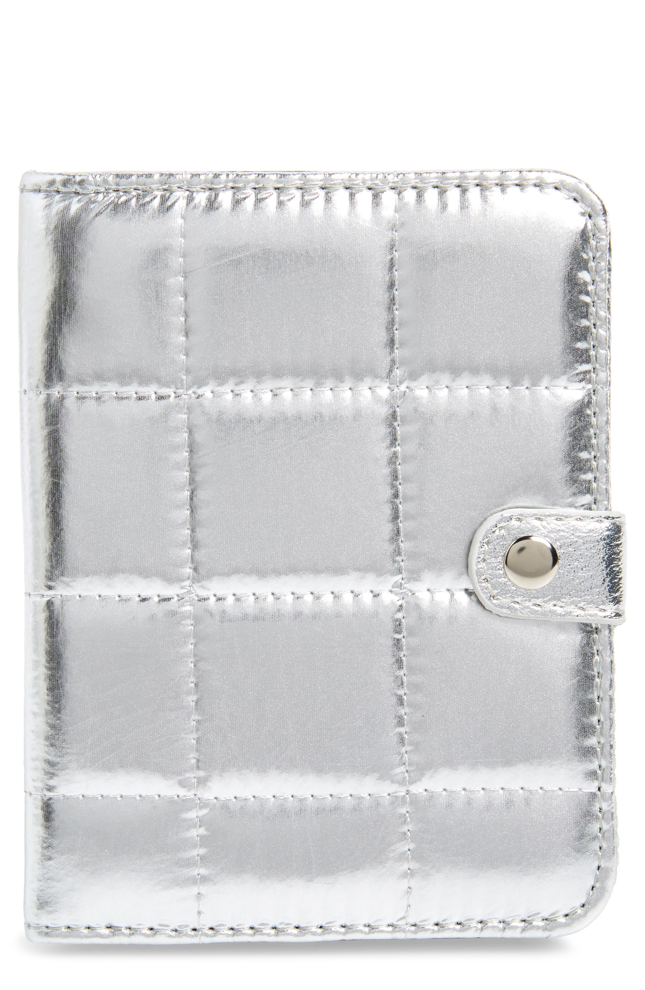 Metallic Puffer Wallet,                         Main,                         color, Silver
