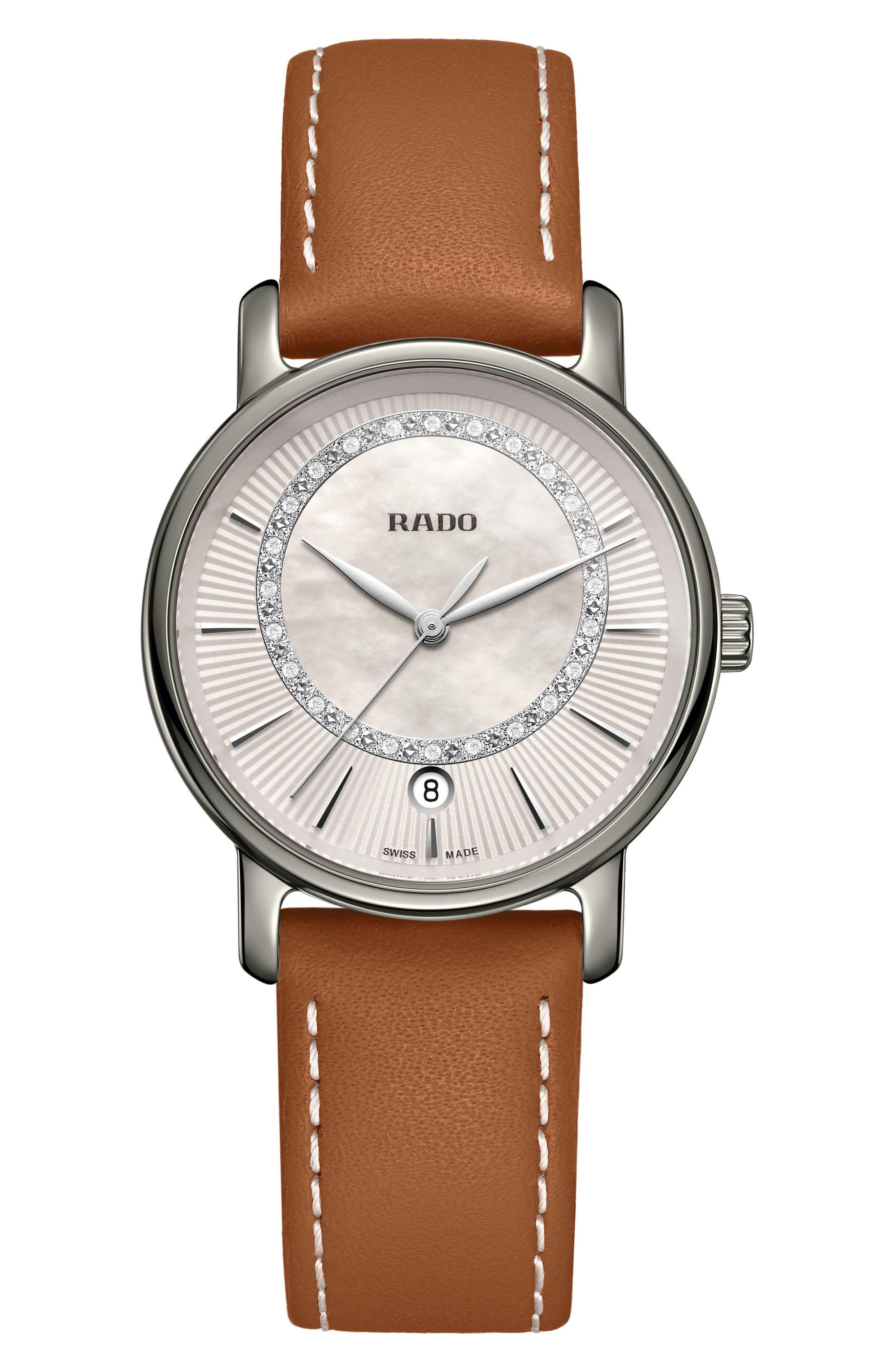 DiaMaster Diamond Leather Strap Watch, 33mm,                             Main thumbnail 1, color,                             Tan/ Mop/ Silver