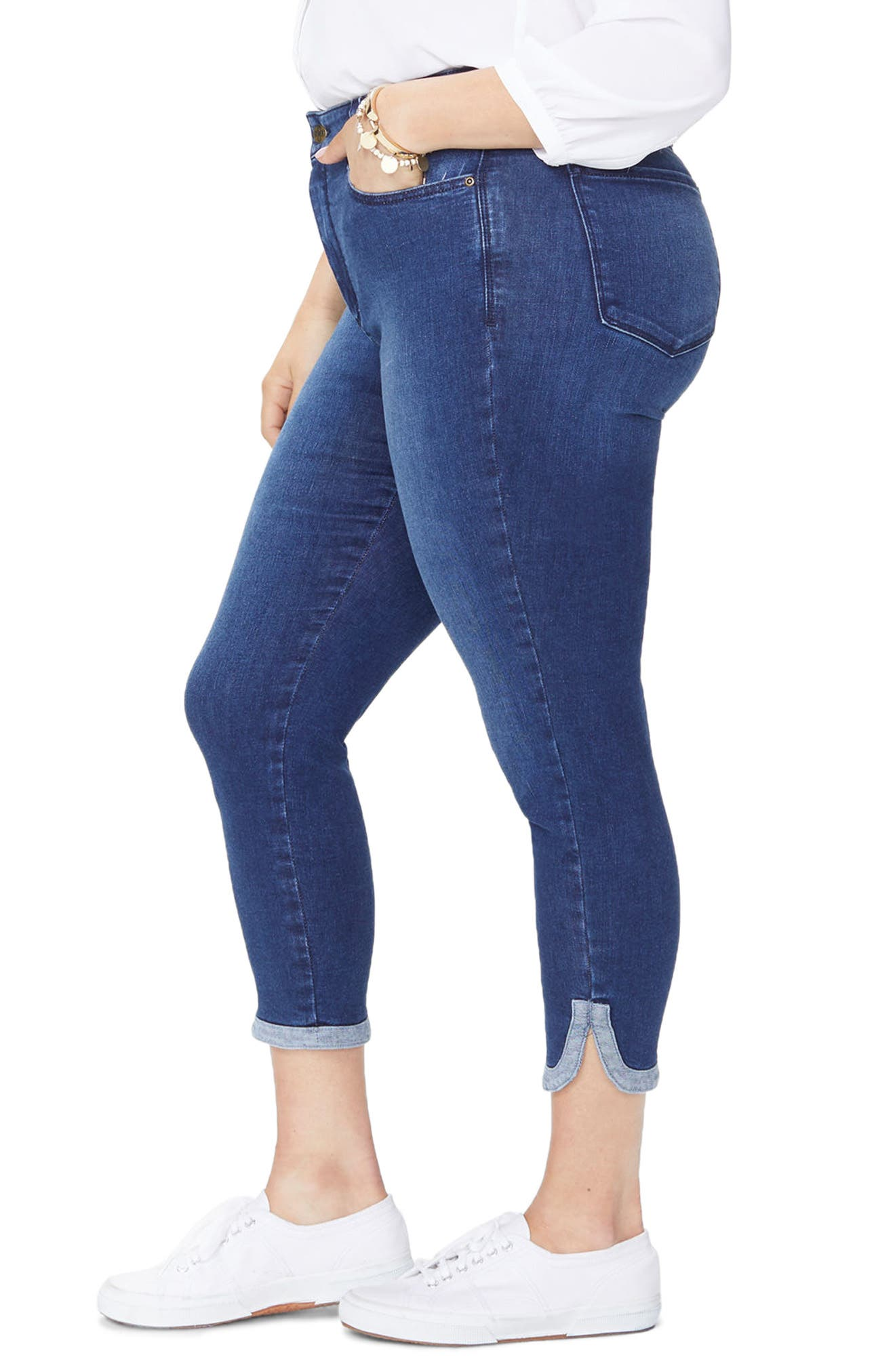Ami Dolphin Hem Stretch Ankle Skinny Jeans,                             Alternate thumbnail 3, color,                             Cooper