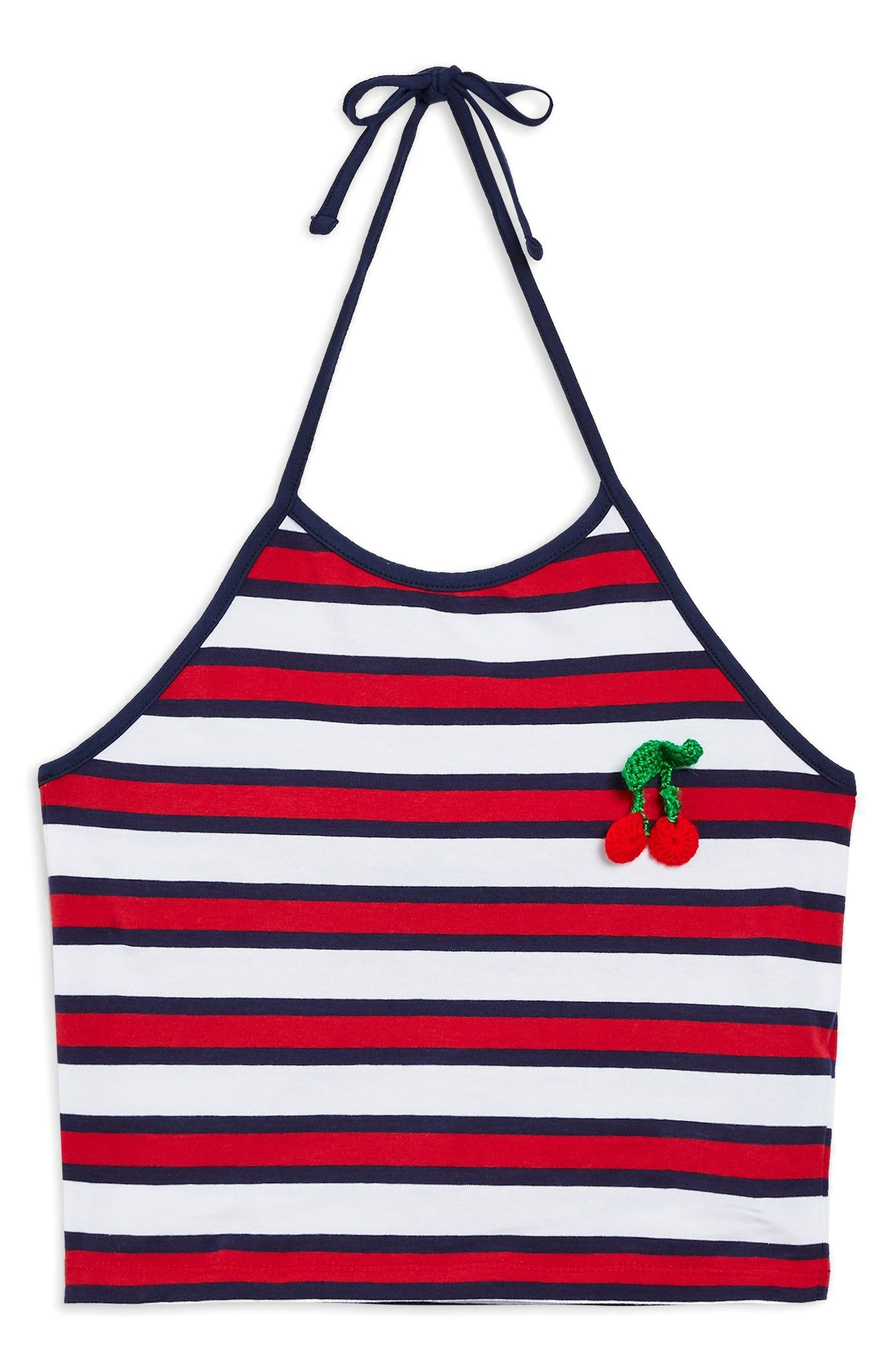 Cherry Embroidered Stripe Halter Top,                             Alternate thumbnail 3, color,                             Navy Blue Multi