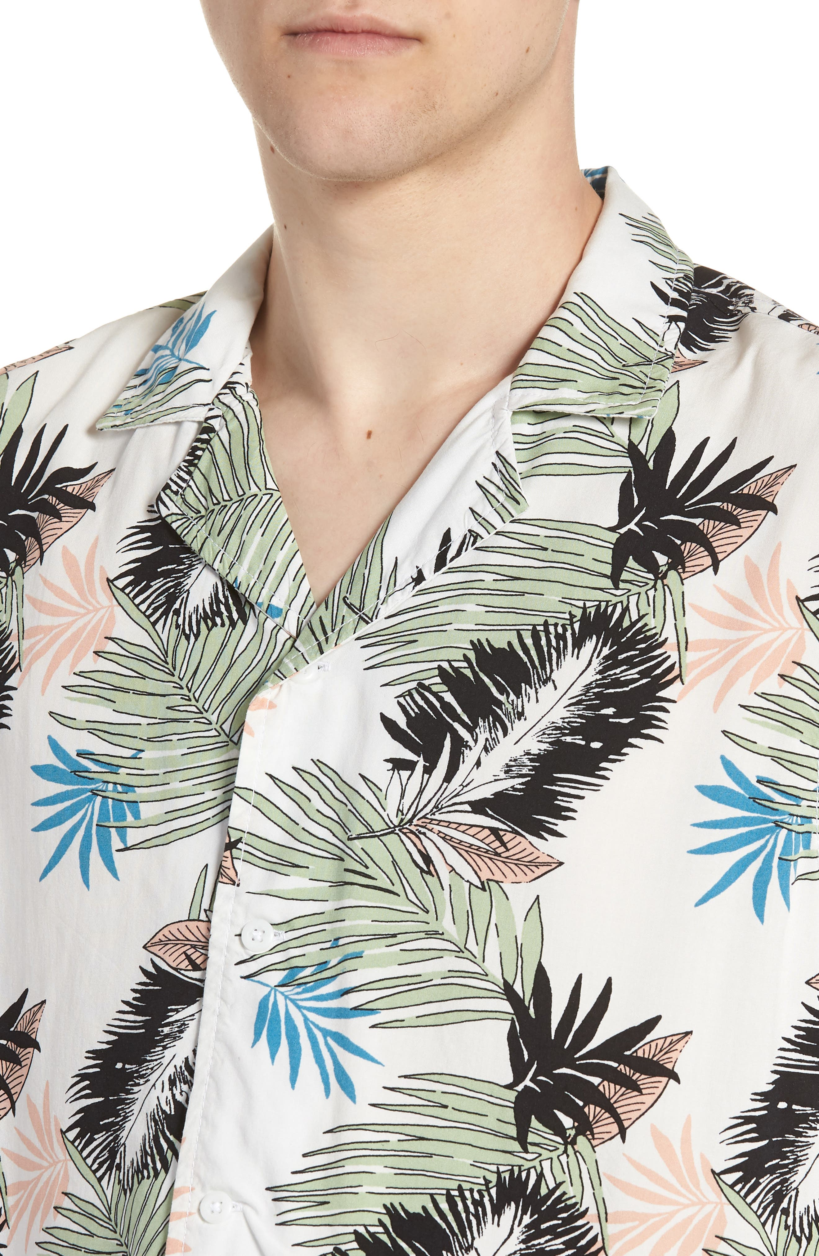 Print Woven Shirt,                             Alternate thumbnail 2, color,                             White Pink Leaf Print