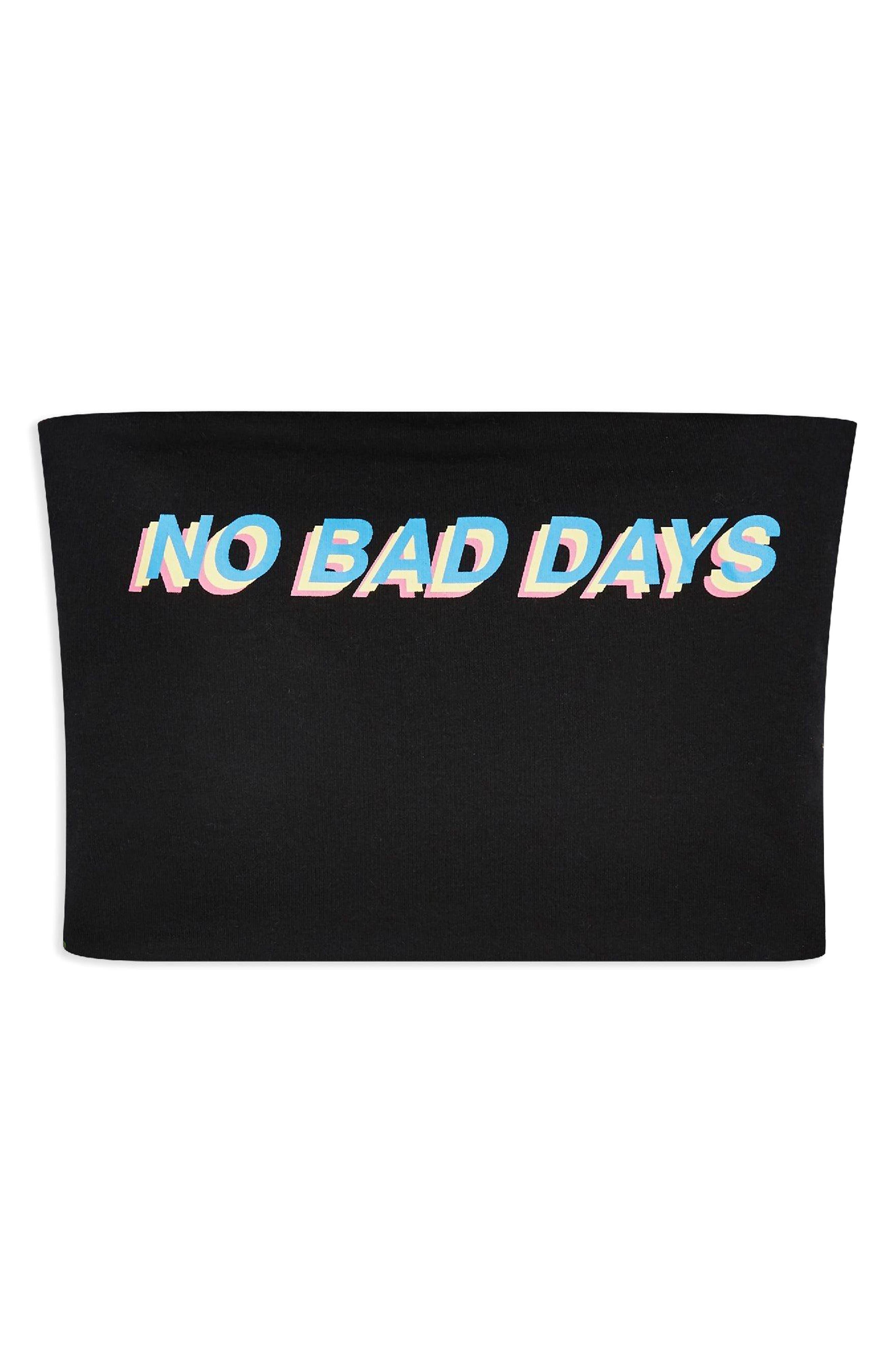 No Bad Days Bandeau Top,                             Alternate thumbnail 3, color,                             Black Multi