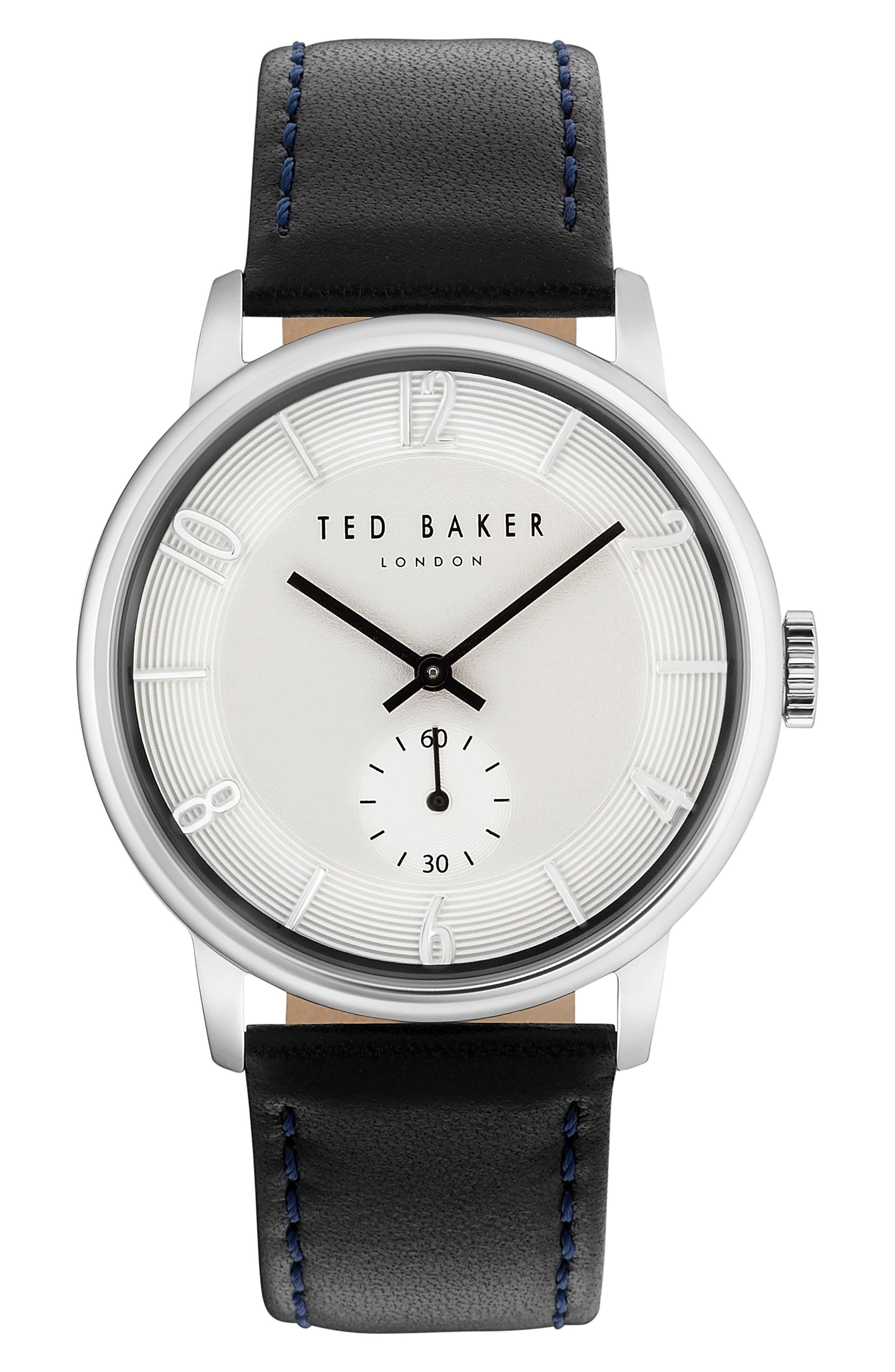 Daniel Leather Strap Watch, 42mm,                         Main,                         color, White/ Black