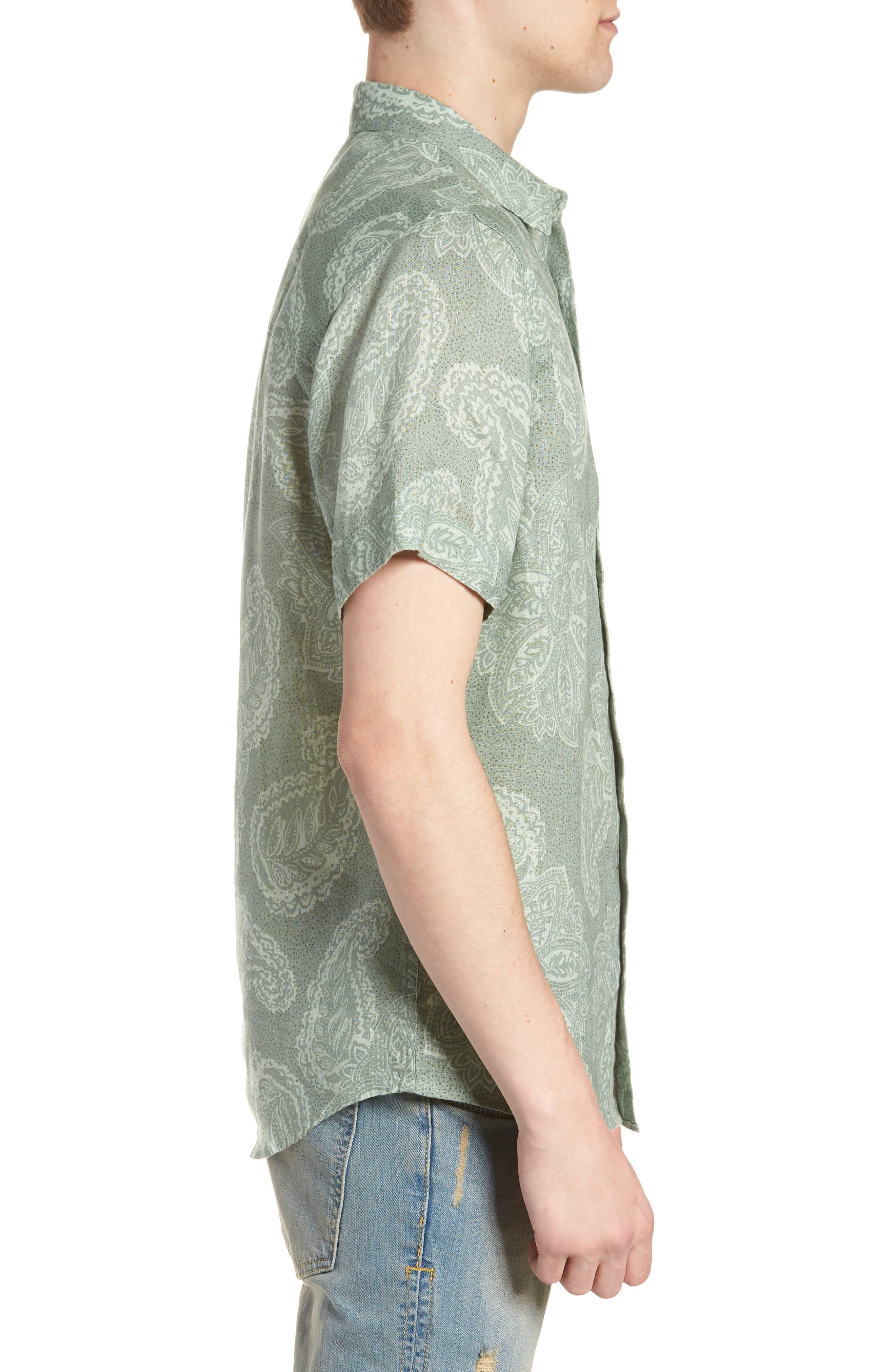 Paisley Linen Camp Shirt,                             Alternate thumbnail 4, color,                             Green Hedge Paisley Print
