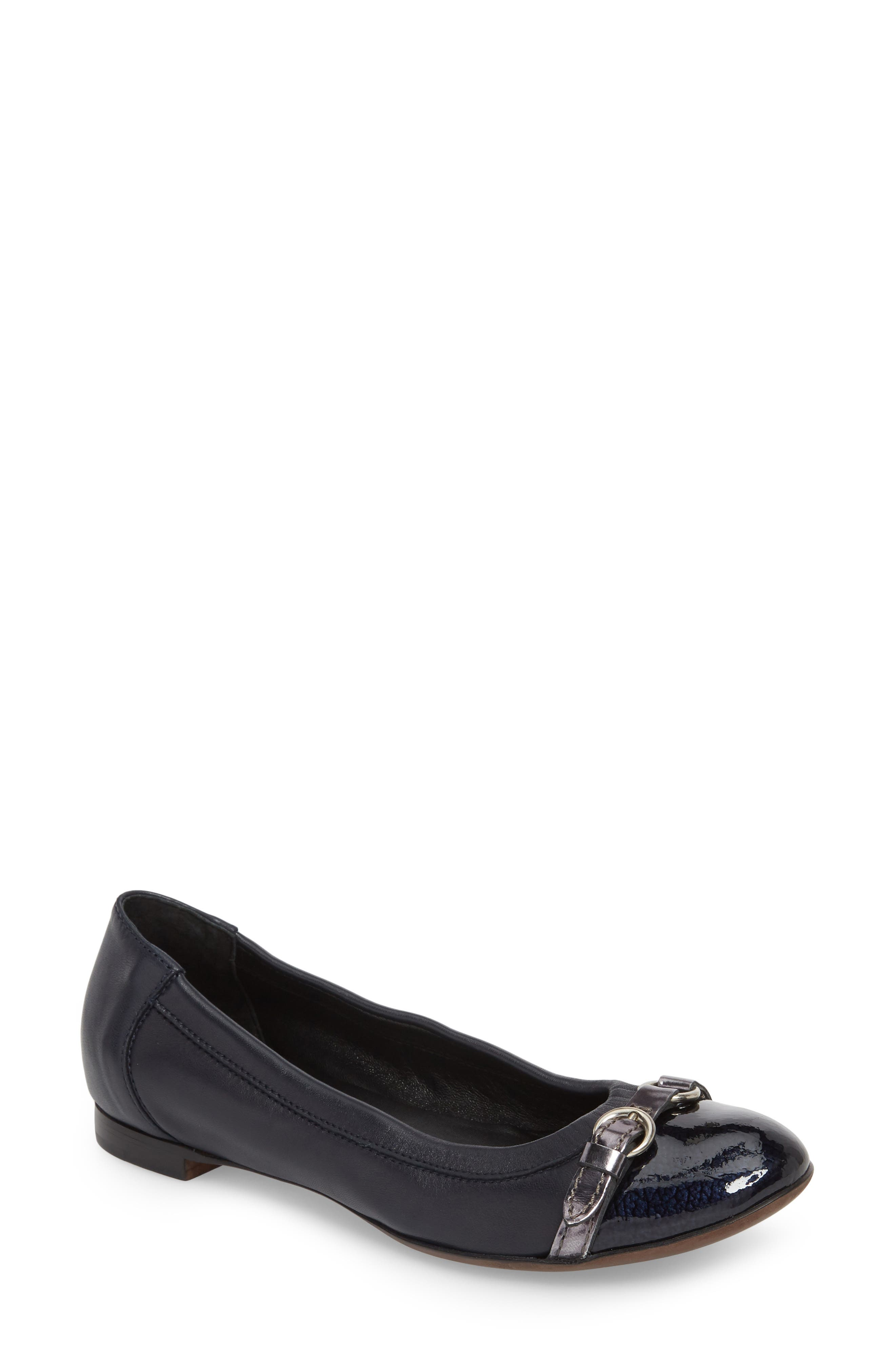 Cap Toe Ballet Flat,                         Main,                         color, Navy Leather