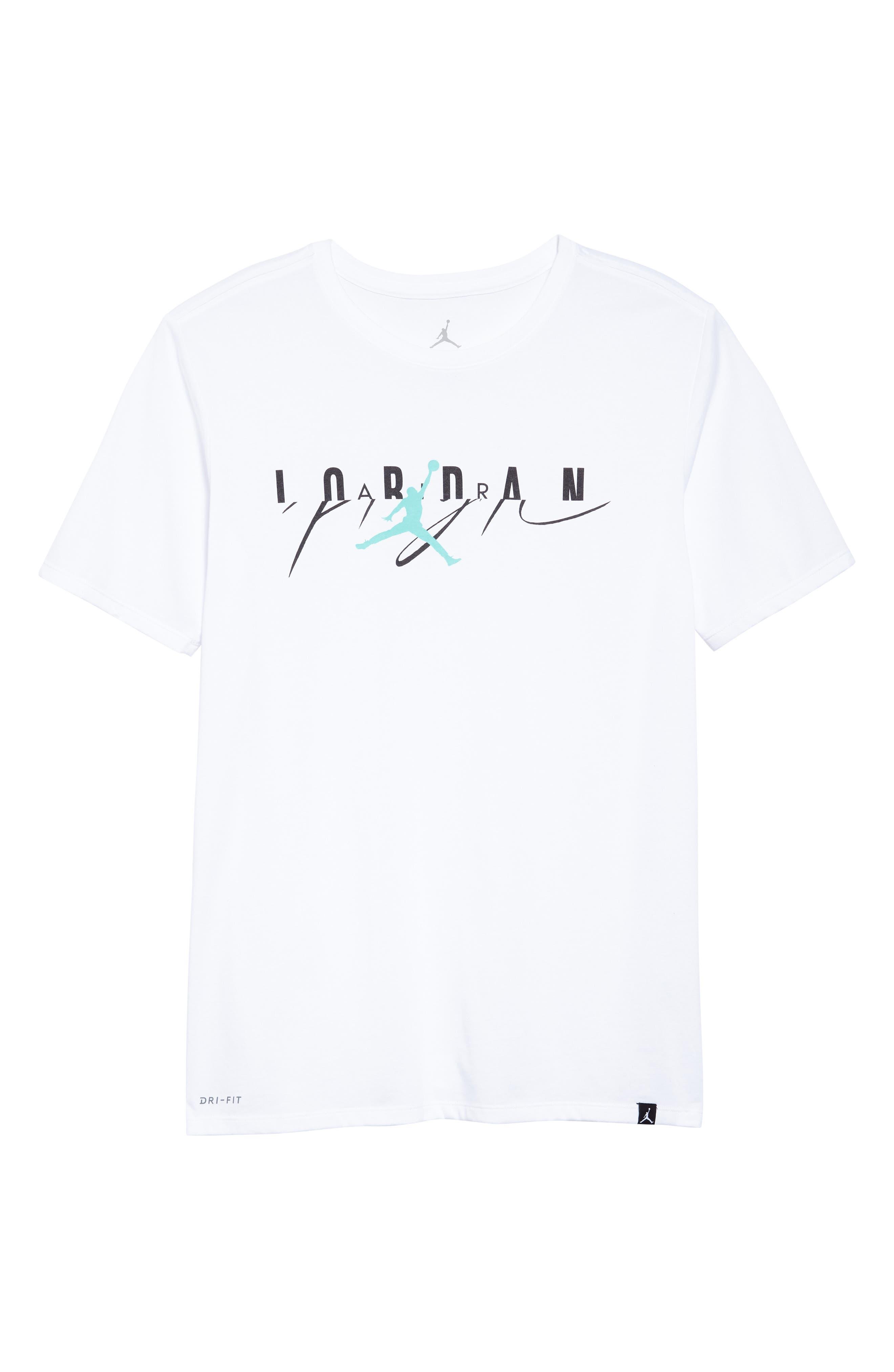 Flight Mash-Up T-Shirt,                             Alternate thumbnail 6, color,                             White/ Emerald Rise