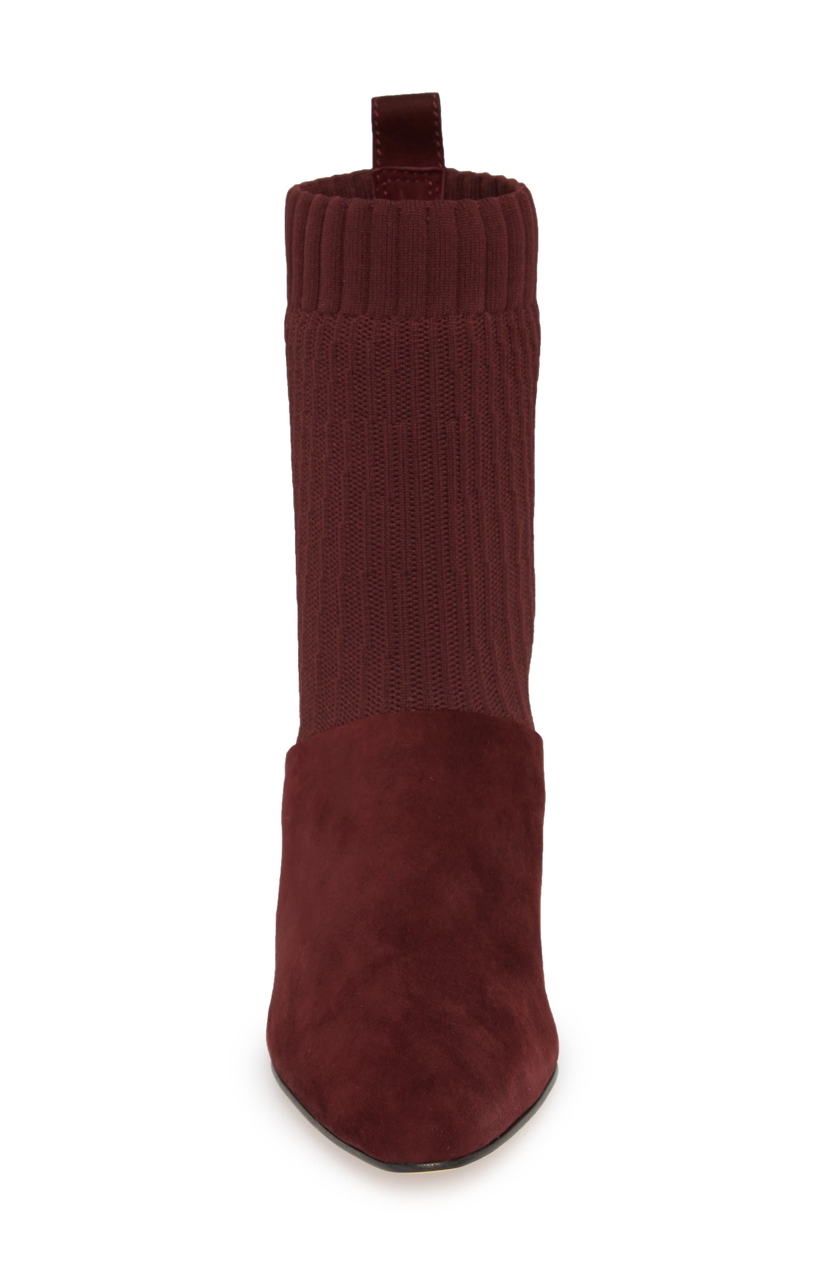 Nuria Sock Bootie,                             Alternate thumbnail 6, color,                             Deep Plum Suede