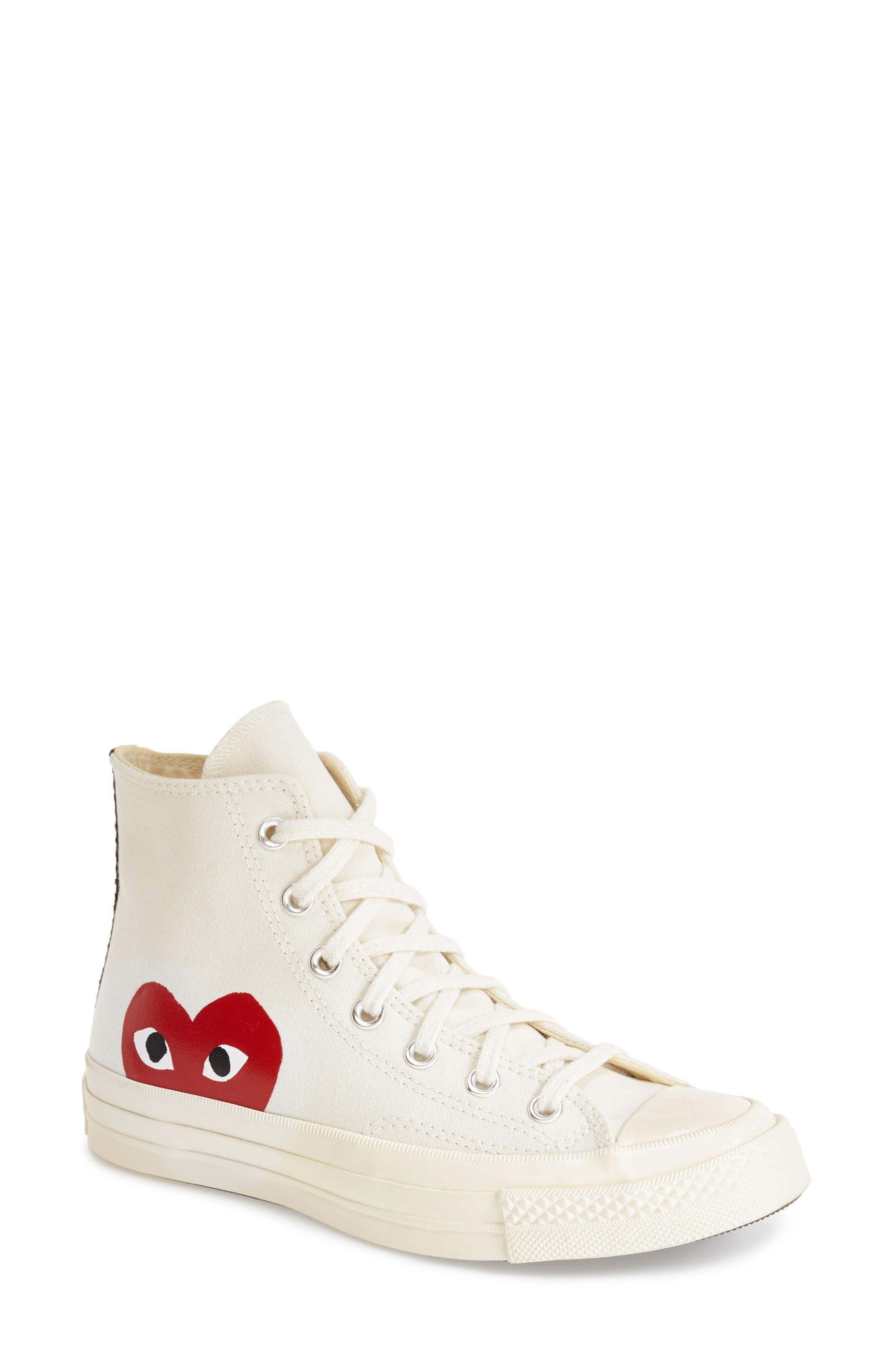 Comme des Garçons PLAYx Converse Chuck Taylor<sup>®</sup> - Hidden Heart High TopSneaker,                         Main,                         color, White Canvas