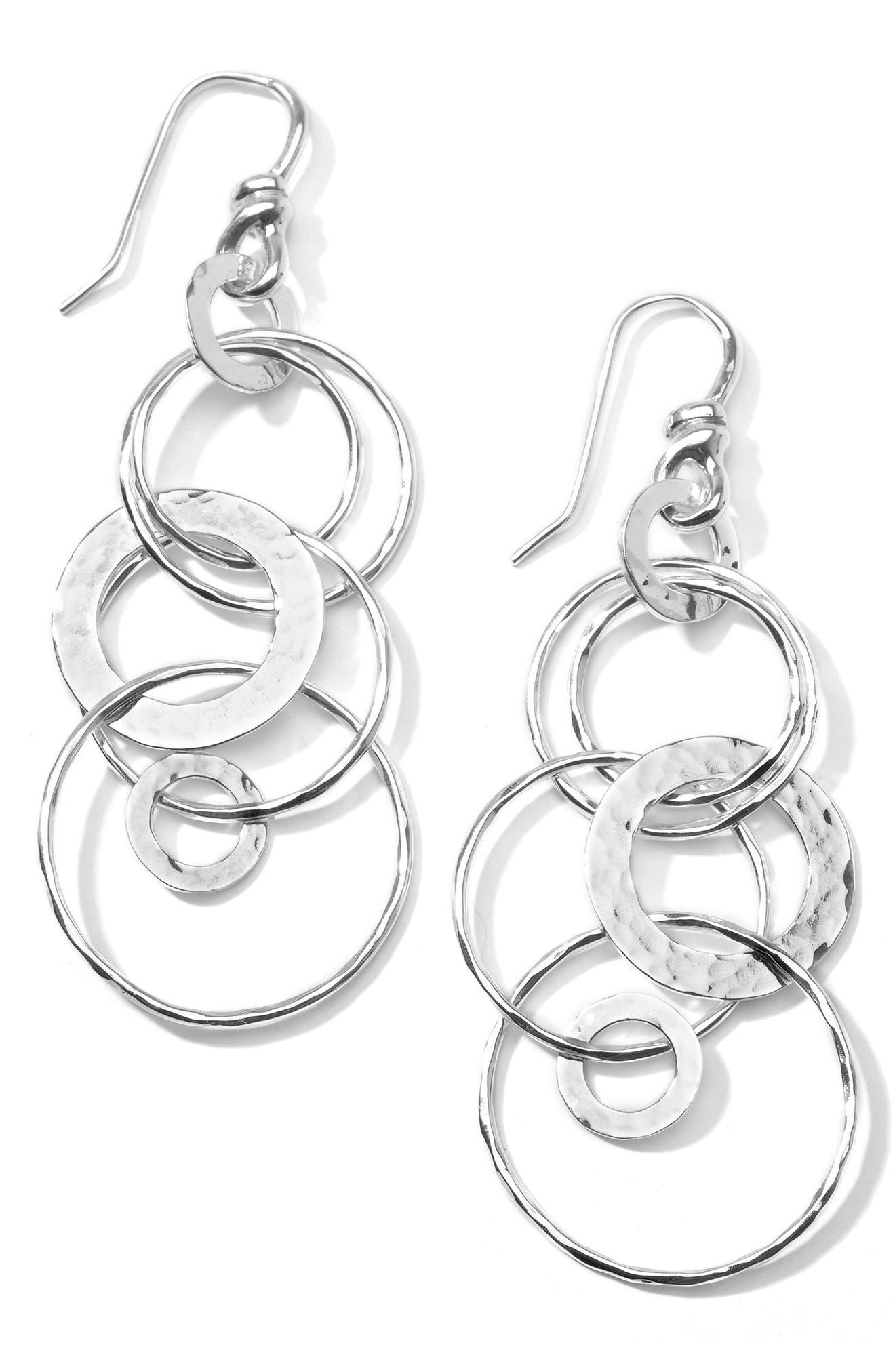 'Jet Set' Drop Earrings,                         Main,                         color, Sterling Silver