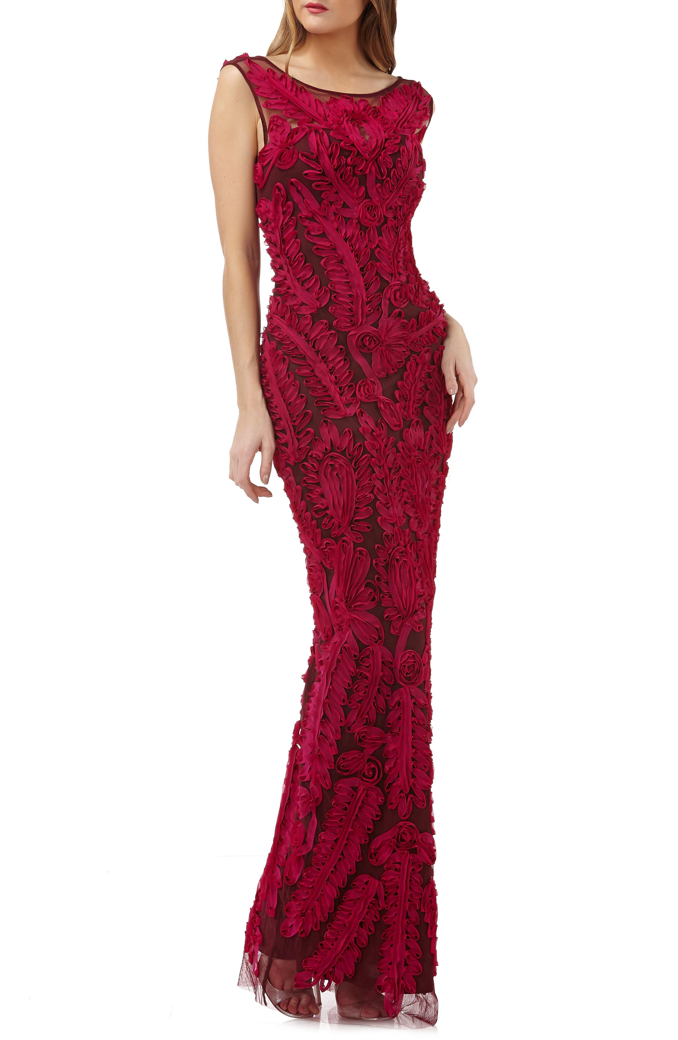 Mesh Column Gown,                         Main,                         color, Magenta/ Cabernet