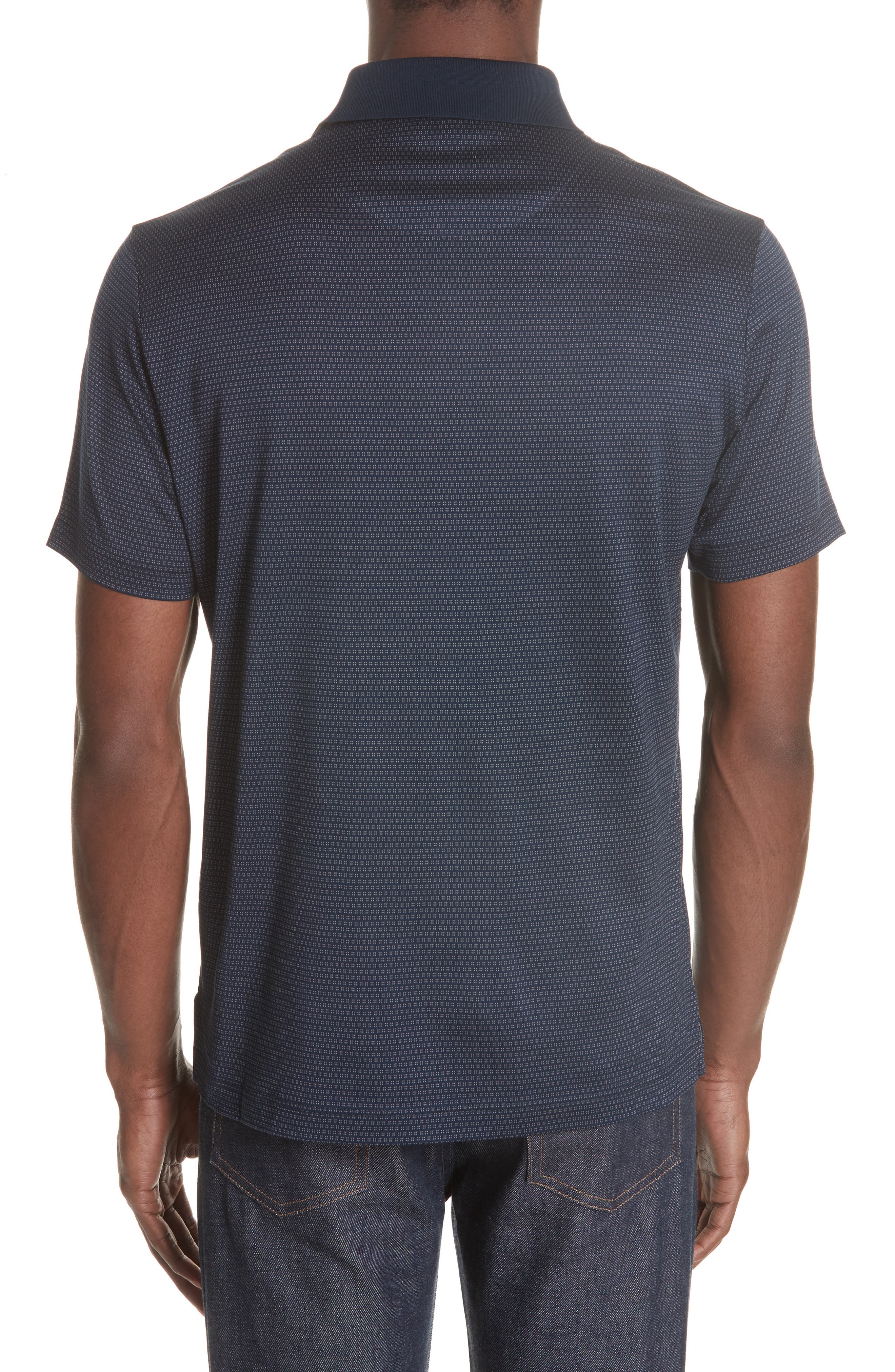 Geometric Cotton Polo Shirt,                             Alternate thumbnail 2, color,                             Navy