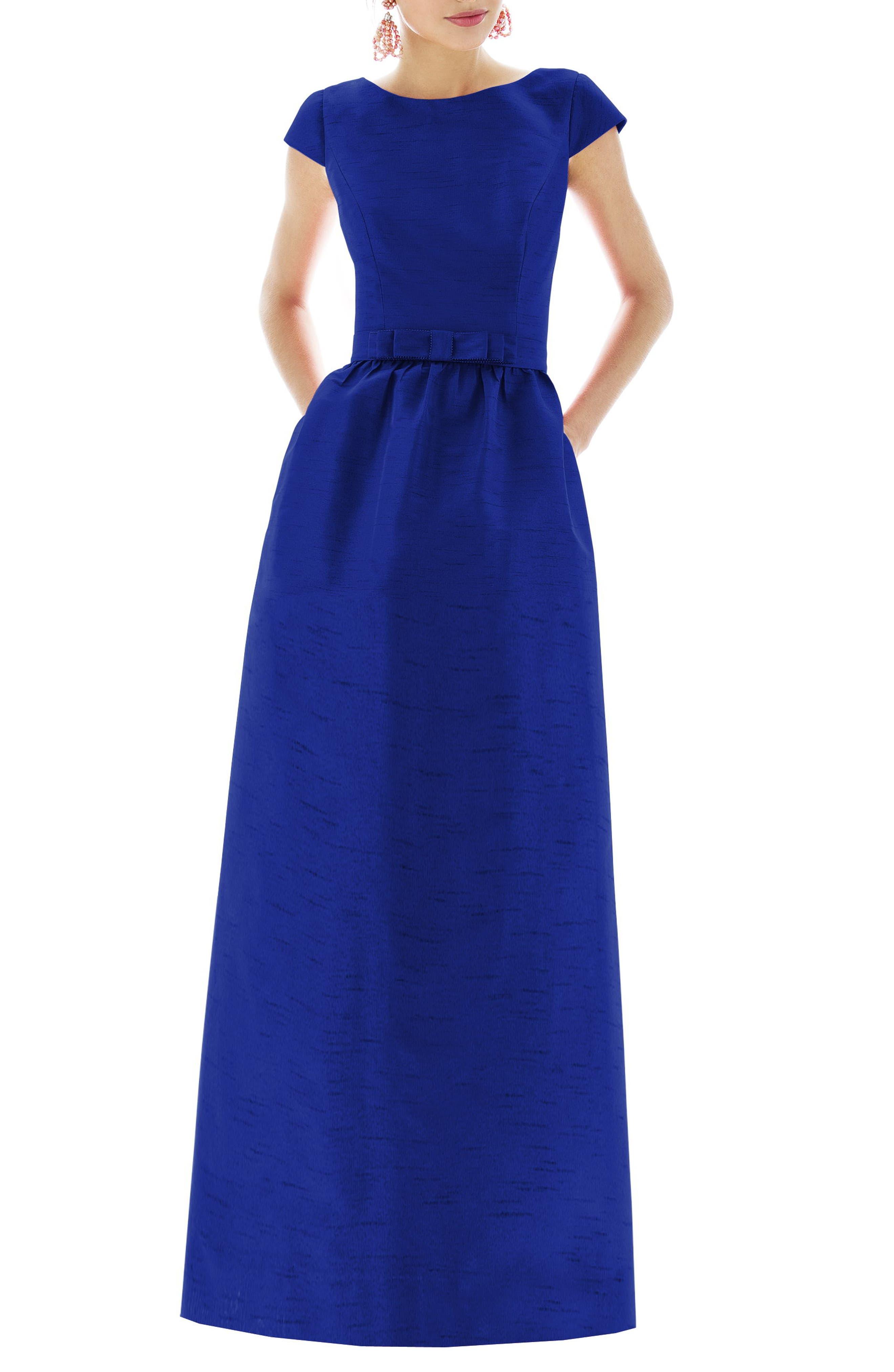 Cap Sleeve Dupioni Full Length Dress,                             Main thumbnail 1, color,                             Royal