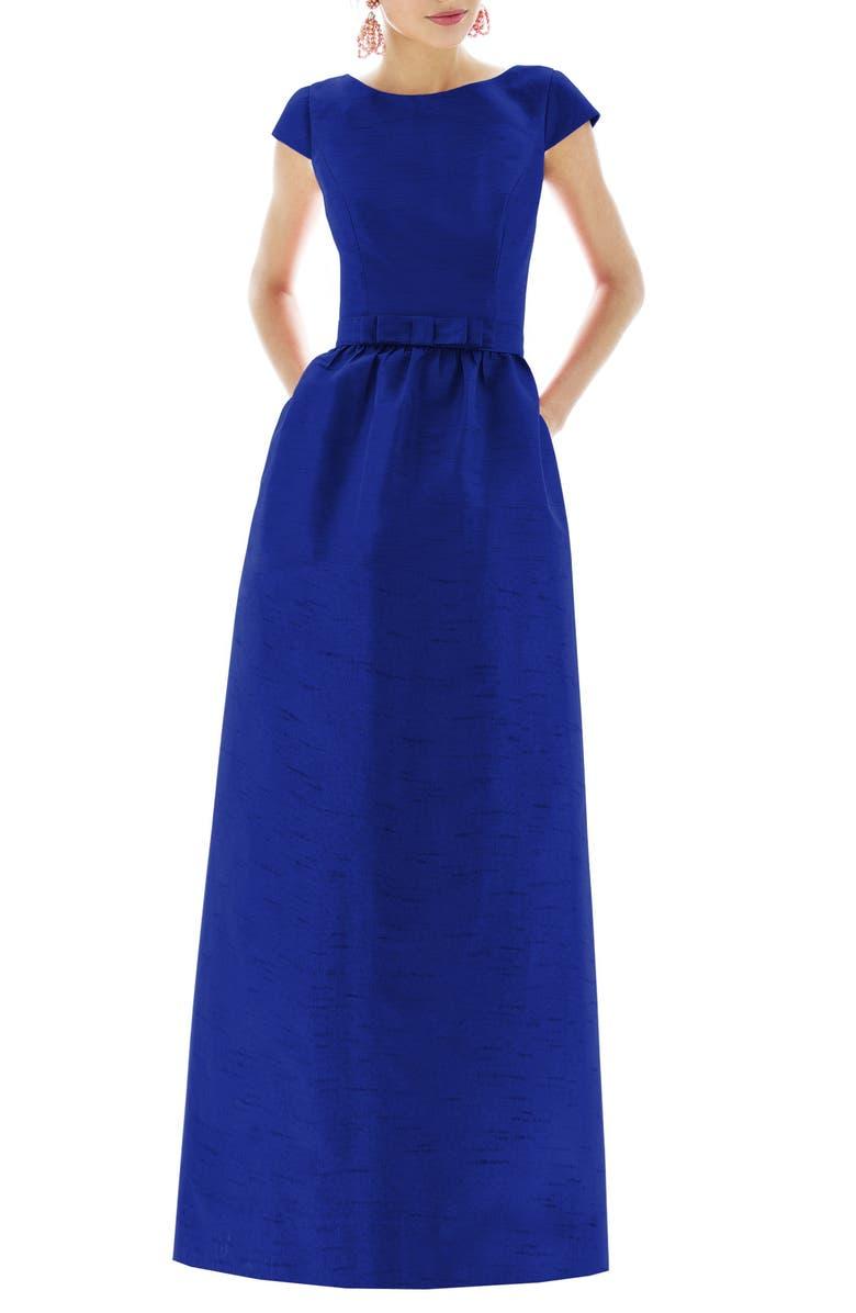 Alfred Sung Cap Sleeve Dupioni Full Length Dress | Nordstrom