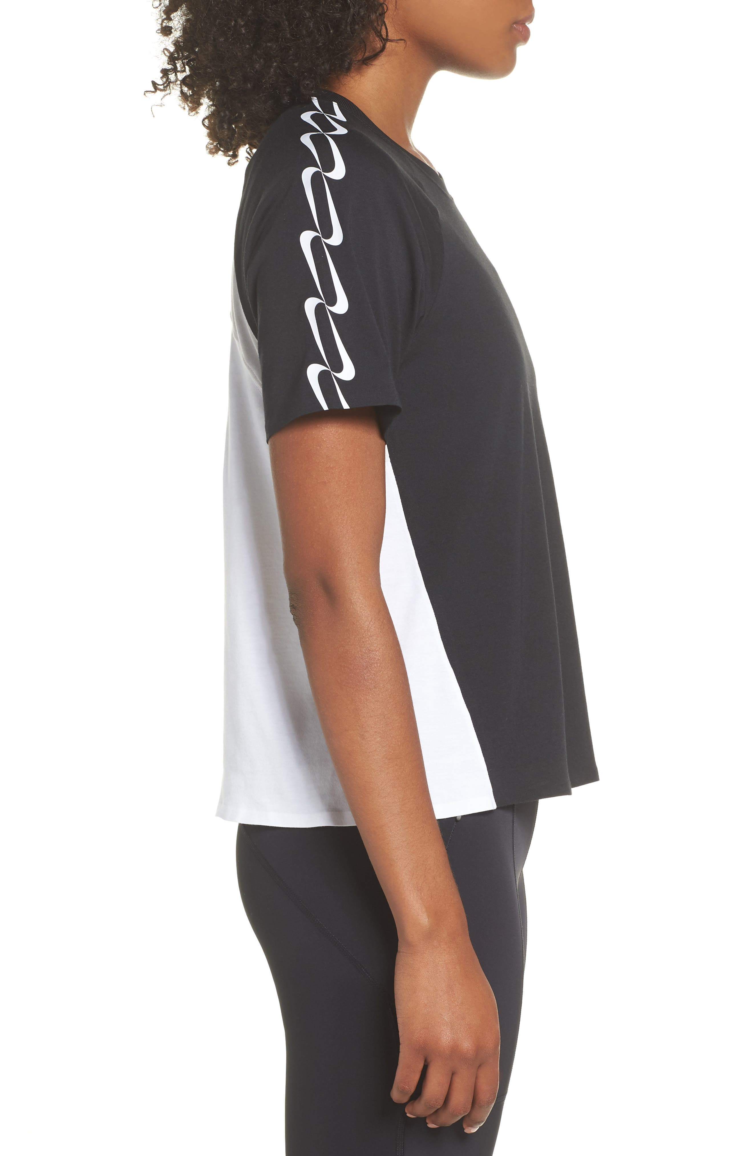 NRG Women's Dri-FIT Short Sleeve Top,                             Alternate thumbnail 3, color,                             Black/ White/ Vast Grey/ Black