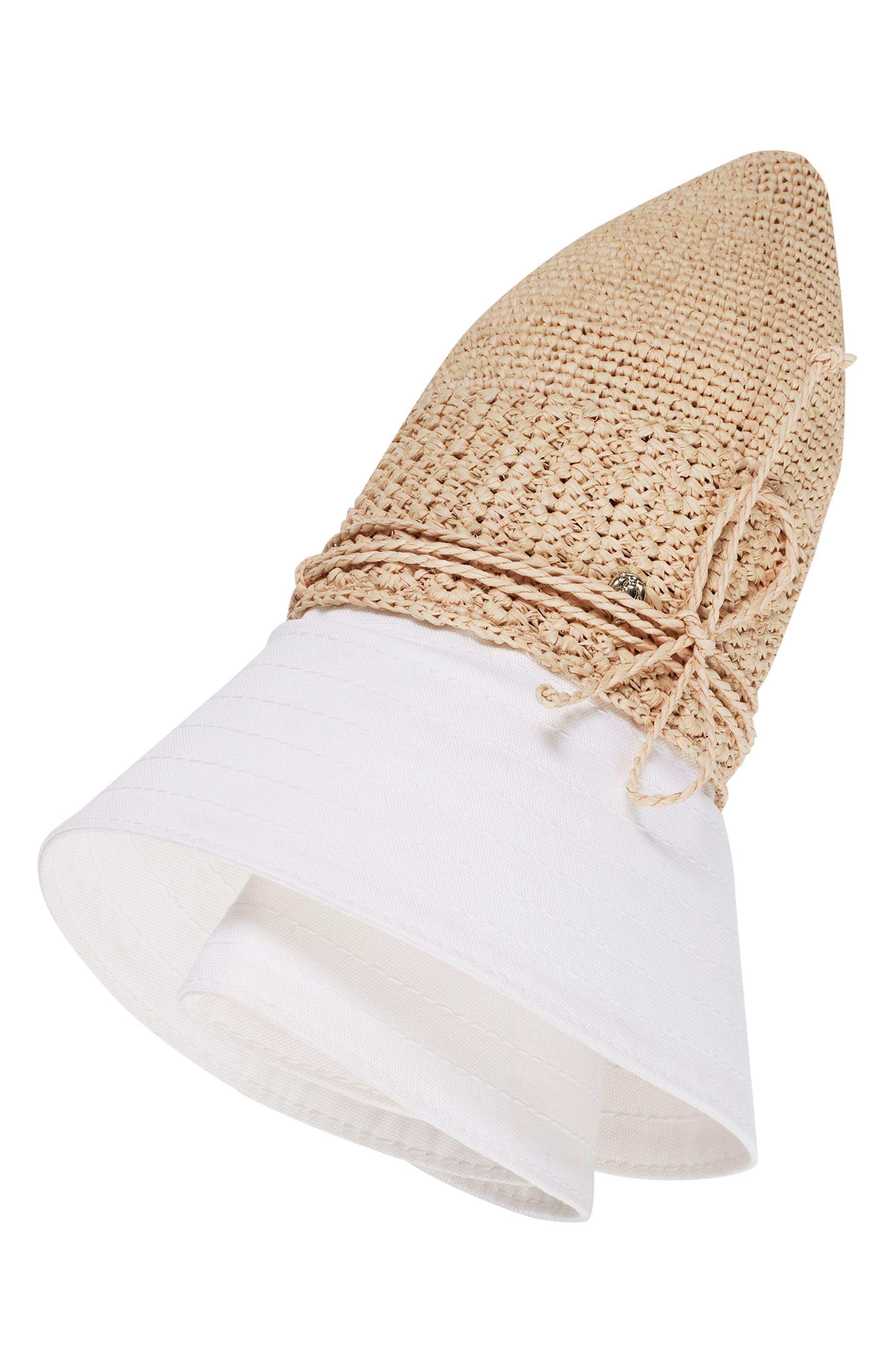 Cotton Brim Raffia Hat,                             Alternate thumbnail 3, color,                             Natural/ White