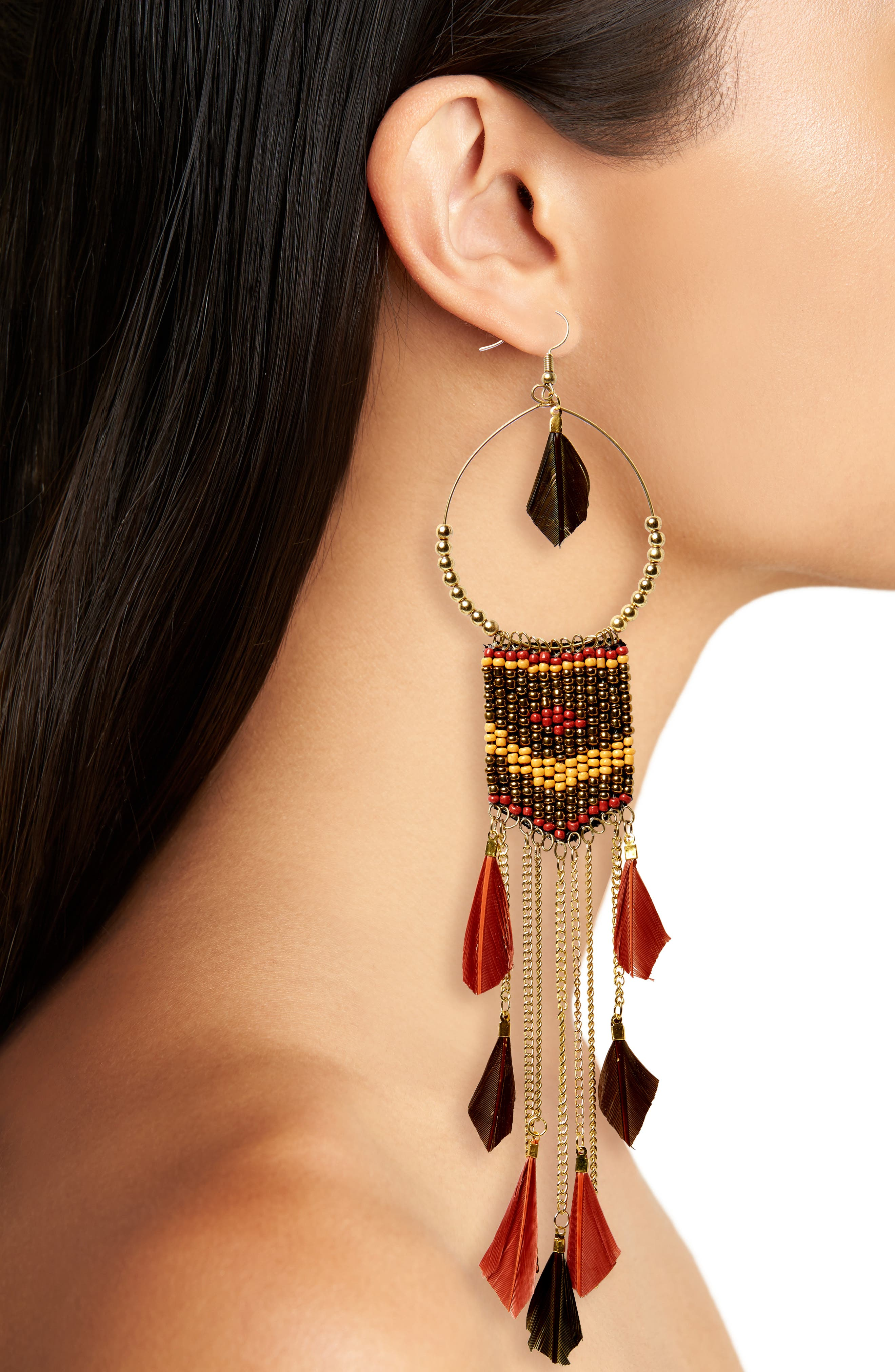 Feather Beaded Drop Earrings,                             Alternate thumbnail 2, color,                             Brown/ Multi