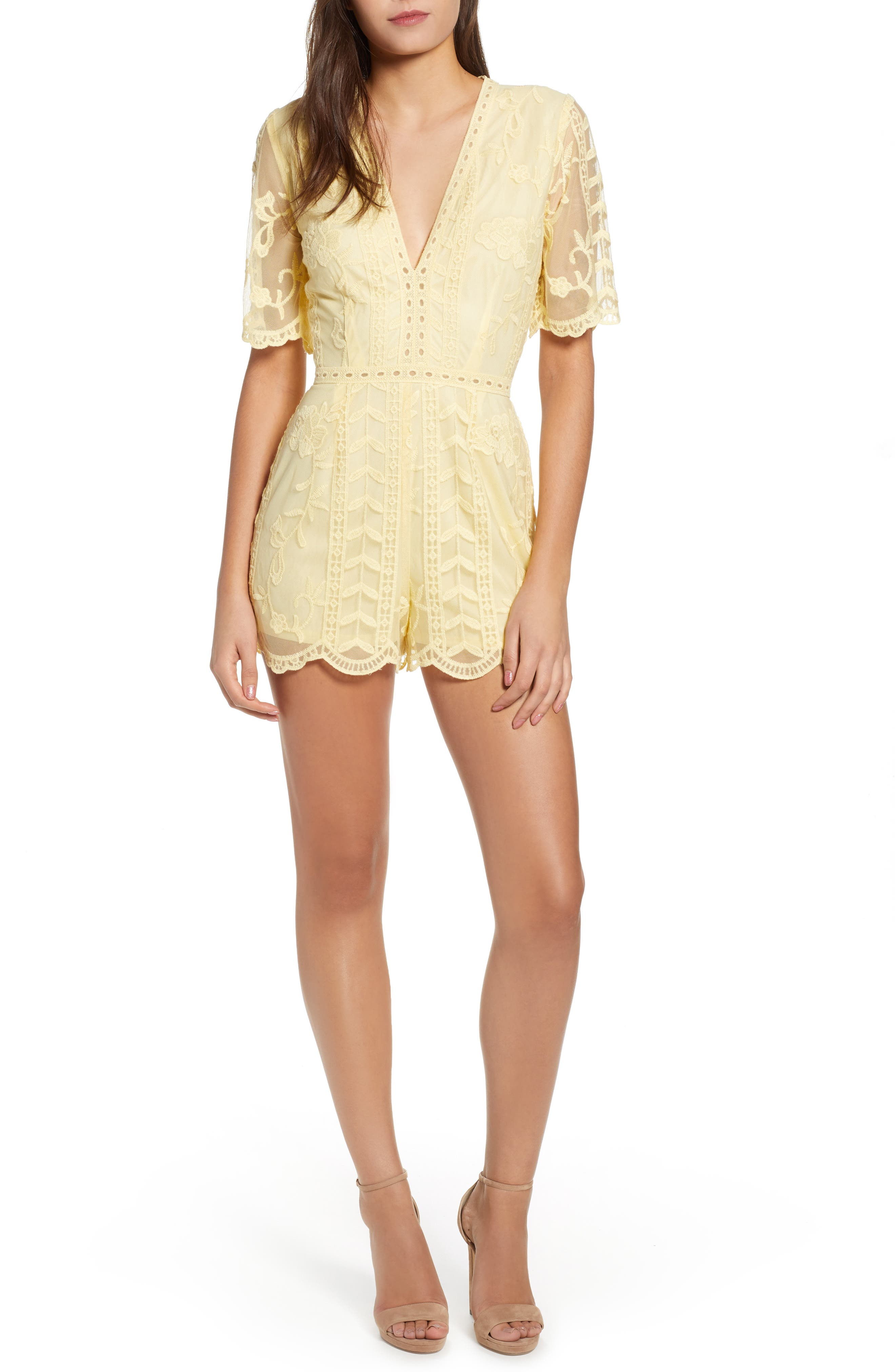 Plunging Lace Romper,                             Main thumbnail 1, color,                             Yellow Pastel
