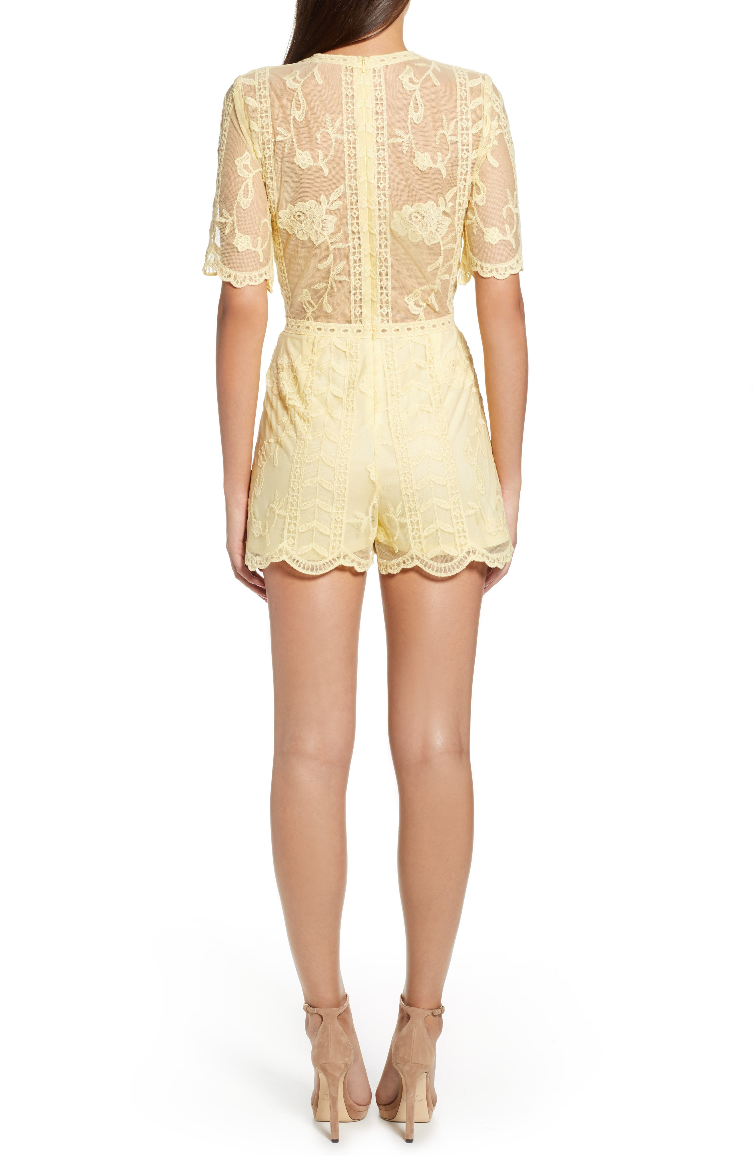 Plunging Lace Romper,                             Alternate thumbnail 2, color,                             Yellow Pastel
