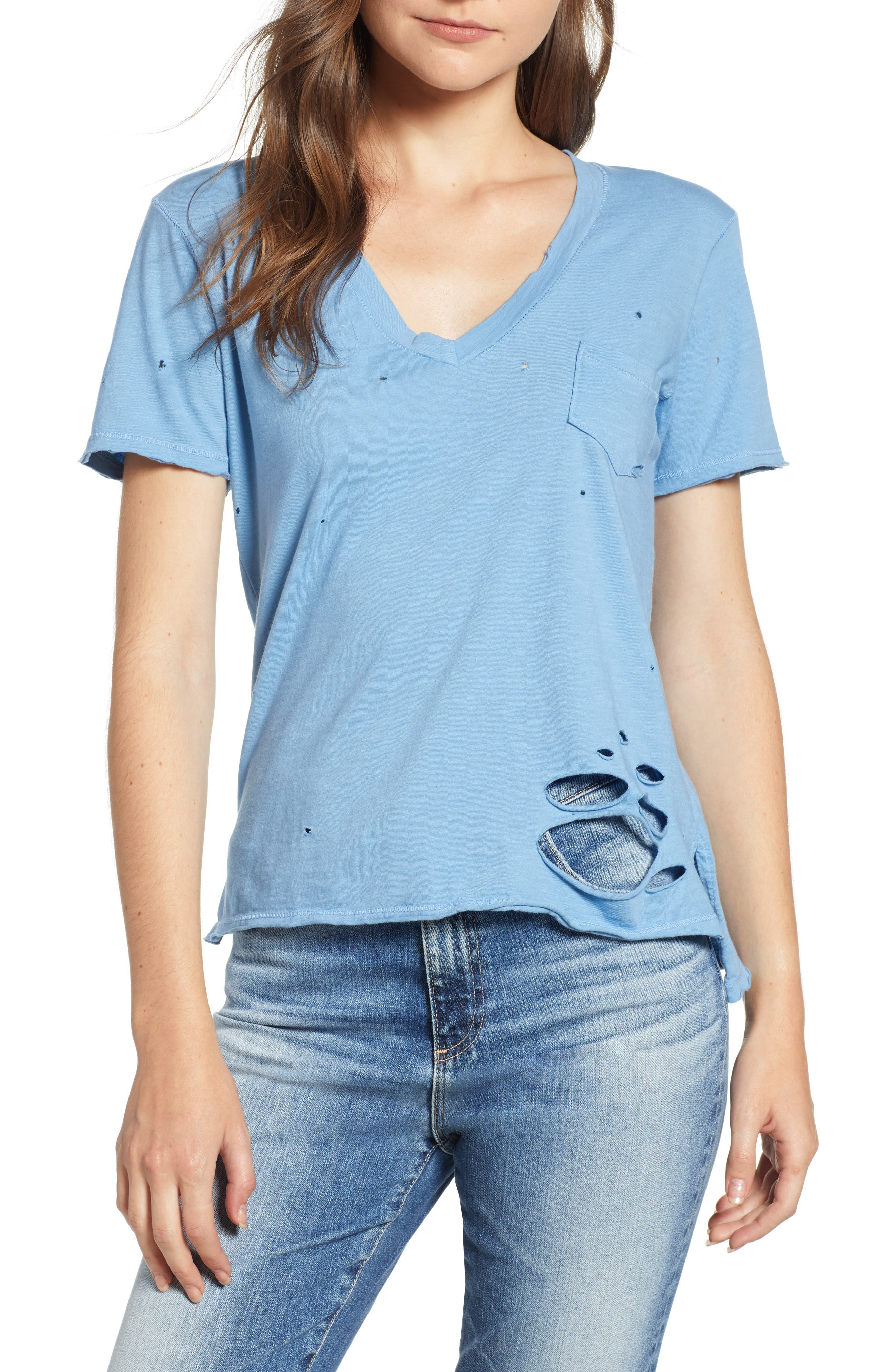 PRINCE PETER DISTRESSED V-NECK TEE