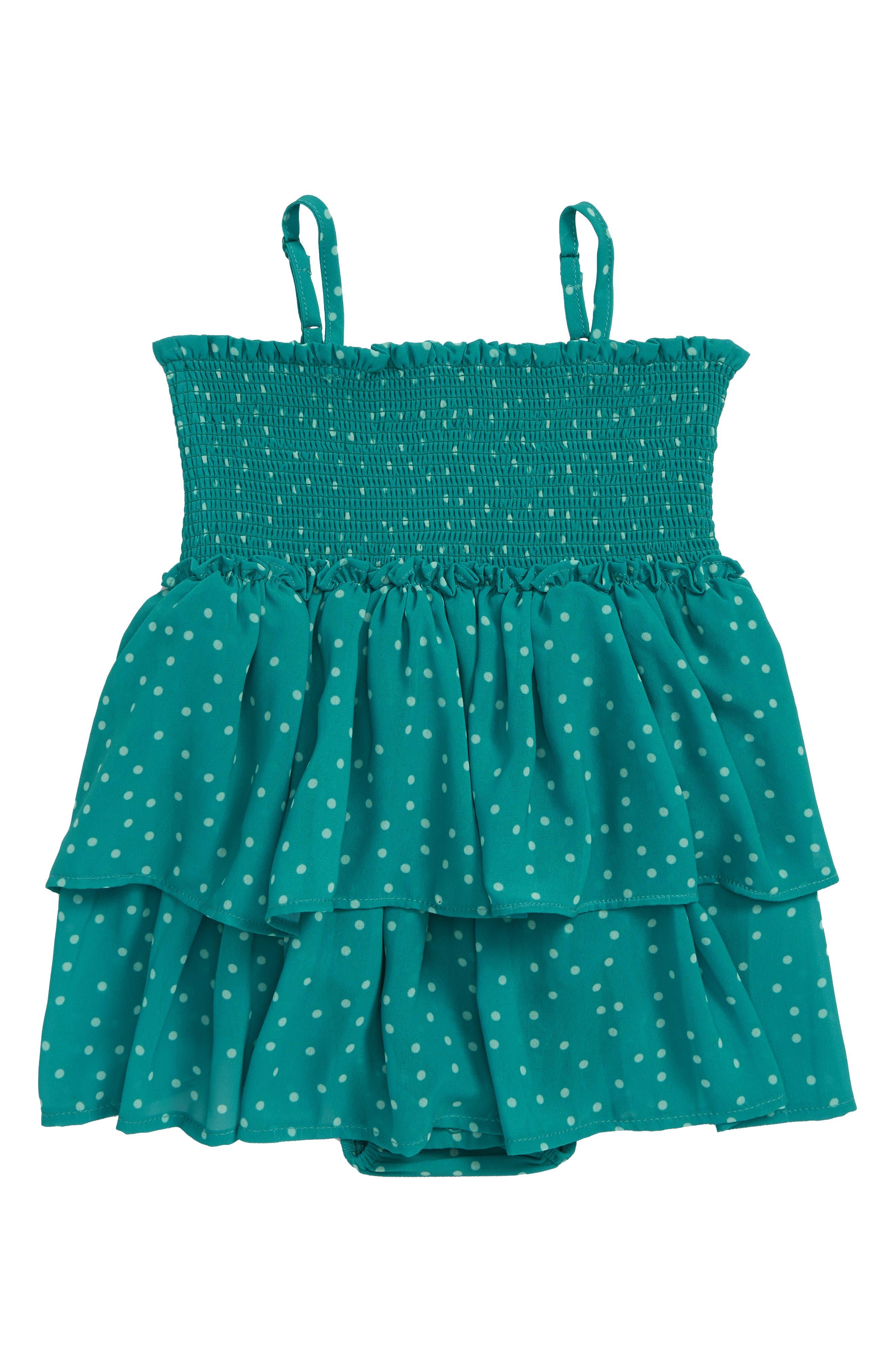Stace Smocked Polka Dot Dress,                             Main thumbnail 1, color,                             Green/ White Spot