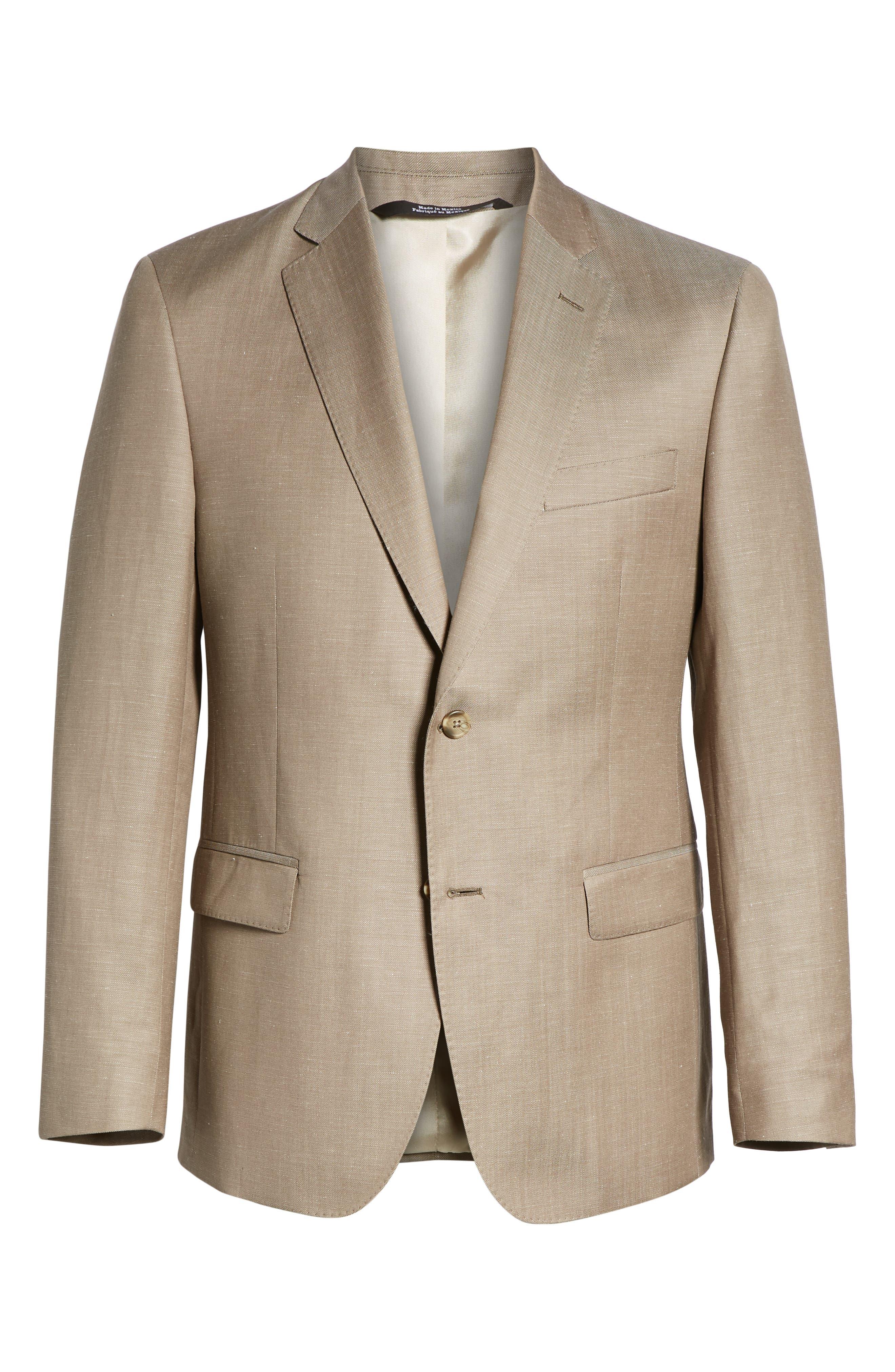 Traditional Fit Wool & Linen Blazer,                             Alternate thumbnail 6, color,                             Tan