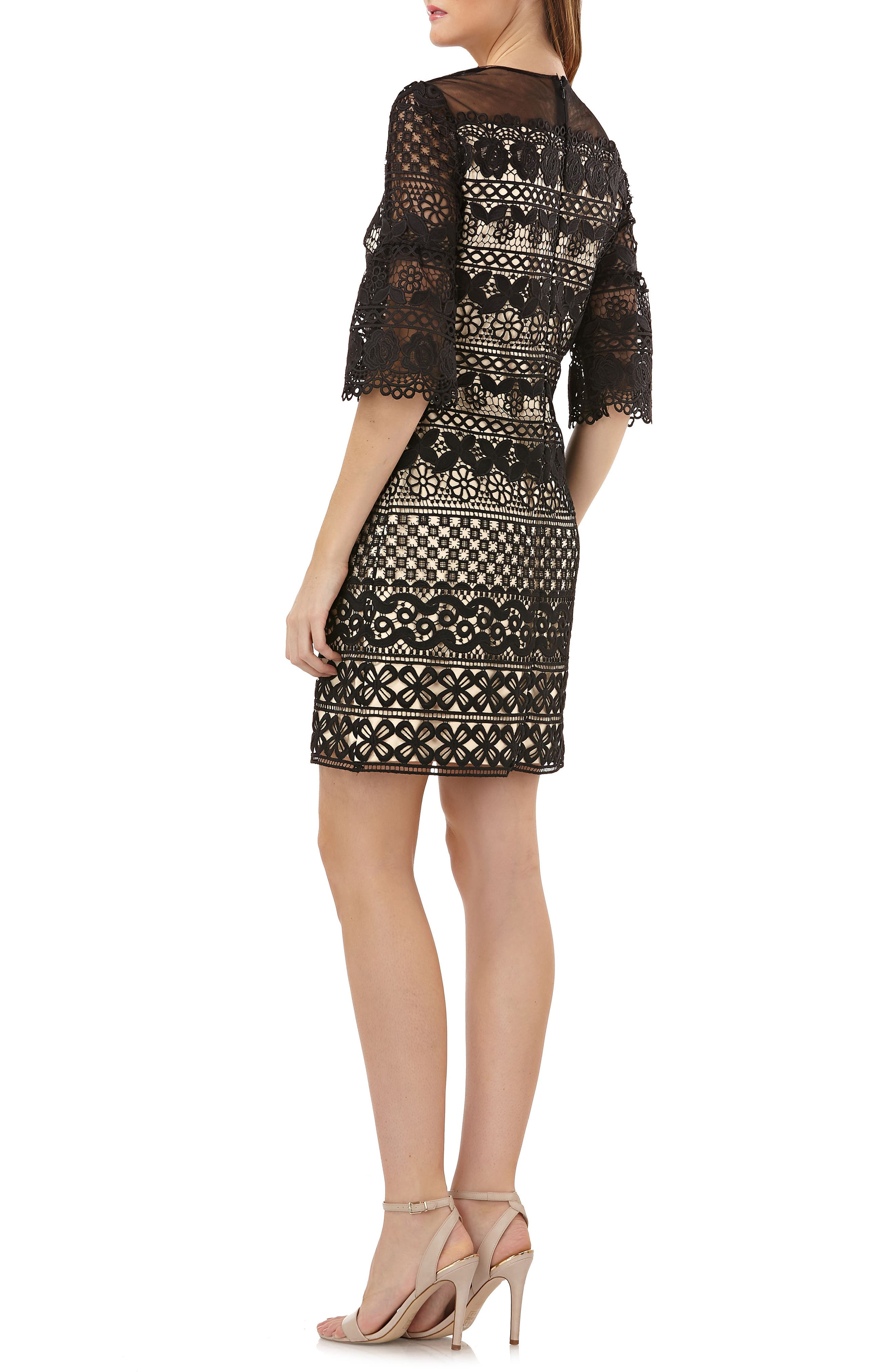 Carmen Marc Valvo Lace Shift Dress,                             Alternate thumbnail 2, color,                             Black Nude