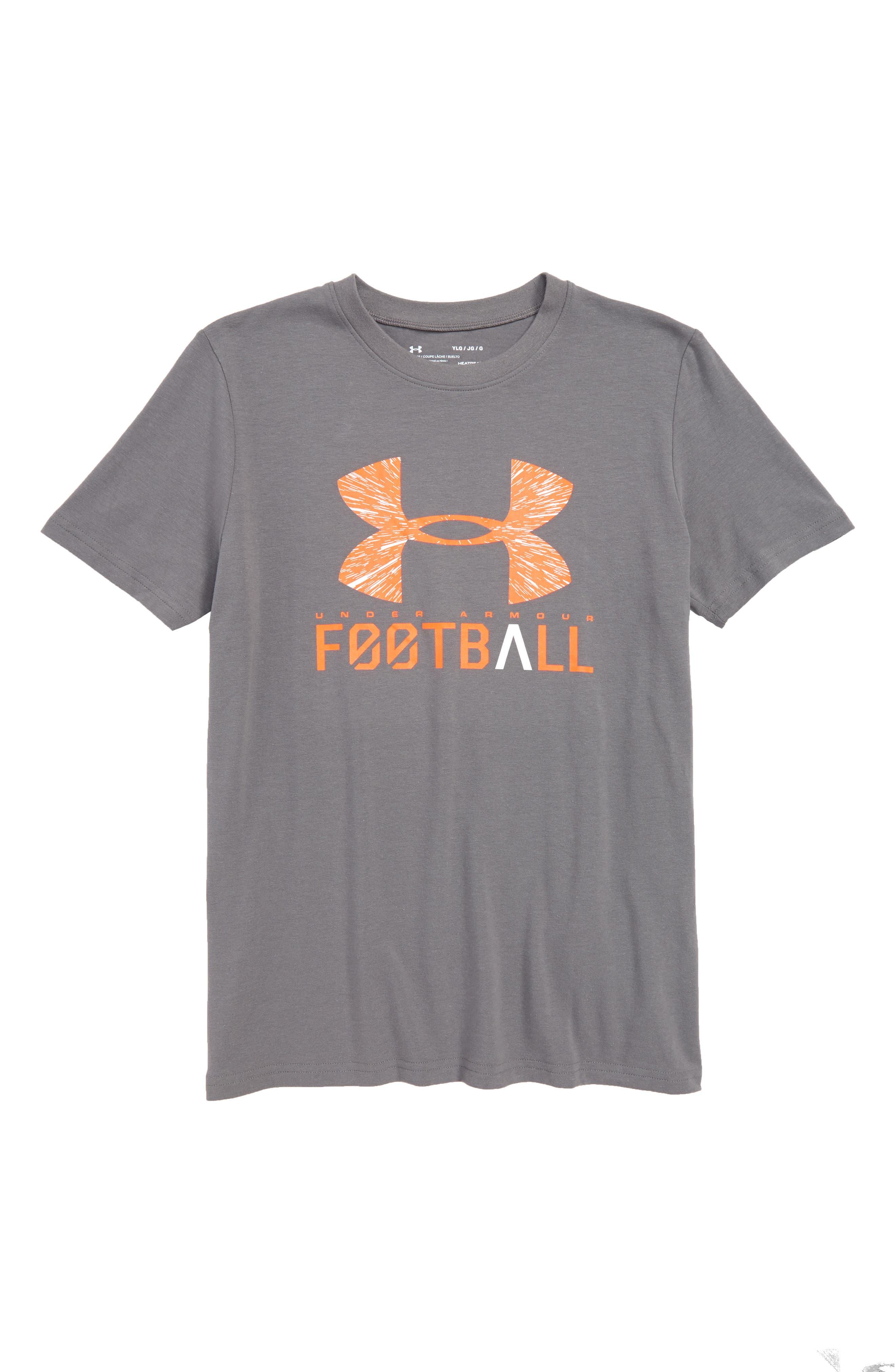 Football Lockup HeatGear<sup>®</sup> Charged Cotton<sup>®</sup> T-Shirt,                             Main thumbnail 1, color,                             Graphite/ White