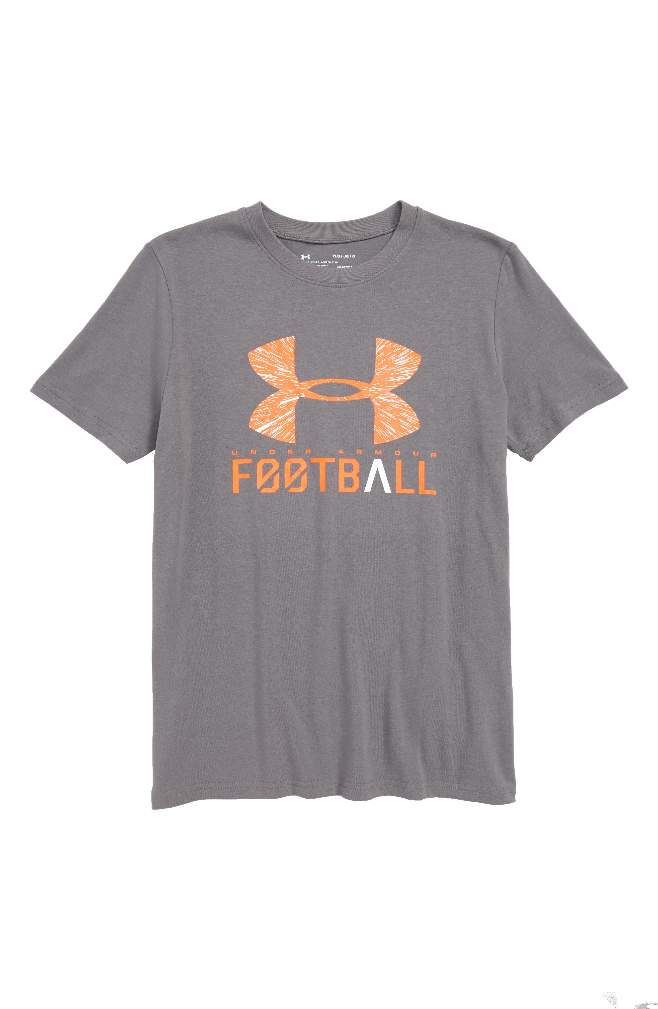 Football Lockup HeatGear<sup>®</sup> Charged Cotton<sup>®</sup> T-Shirt,                         Main,                         color, Graphite/ White
