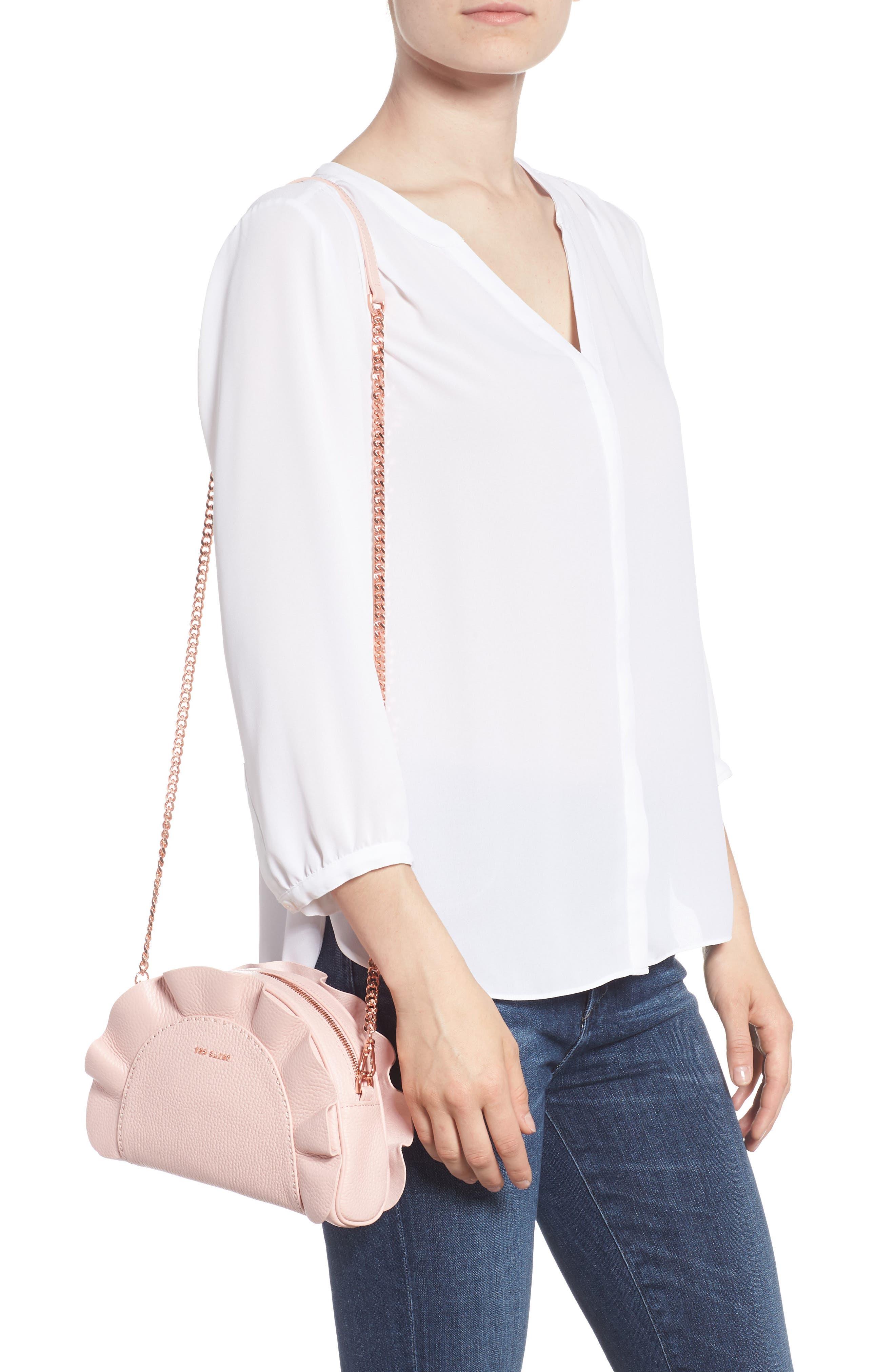 Ruffle Half Moon Leather Crossbody Bag,                             Alternate thumbnail 2, color,                             Light Pink