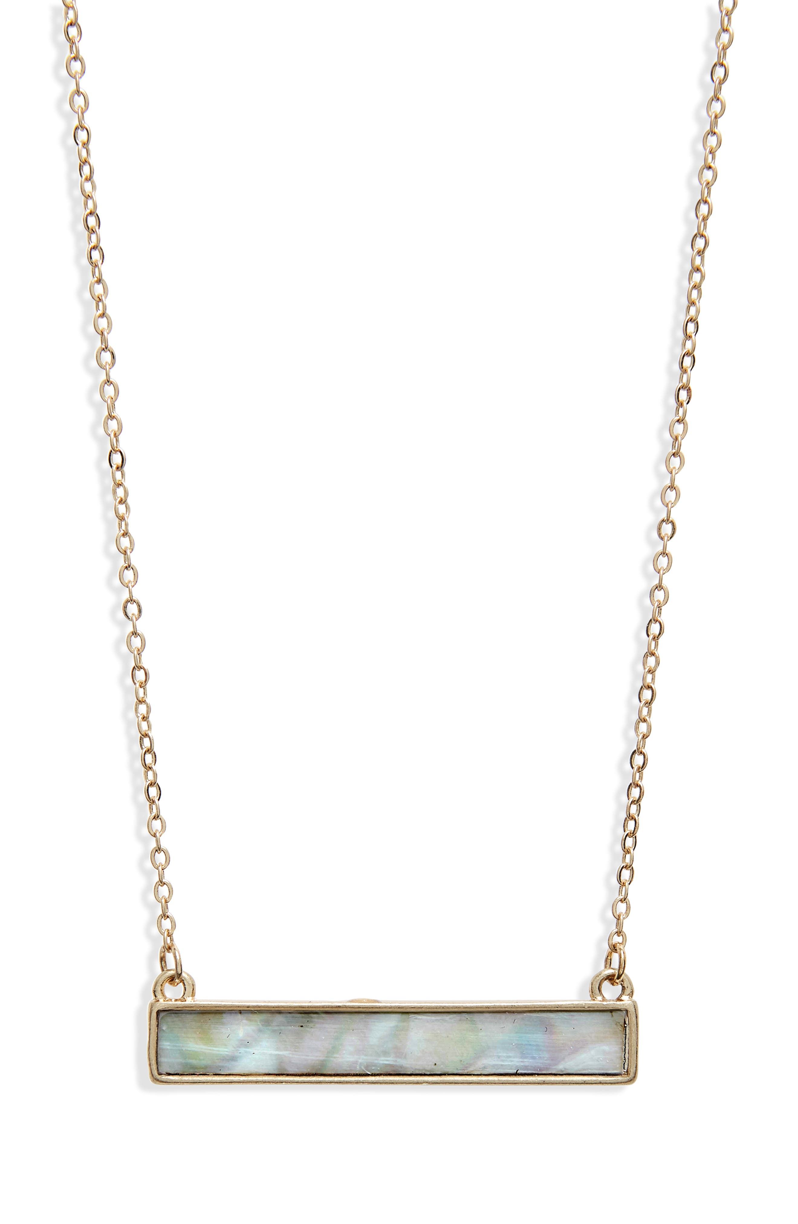 Mother of Pearl Bar Necklace,                         Main,                         color, White/ Gold